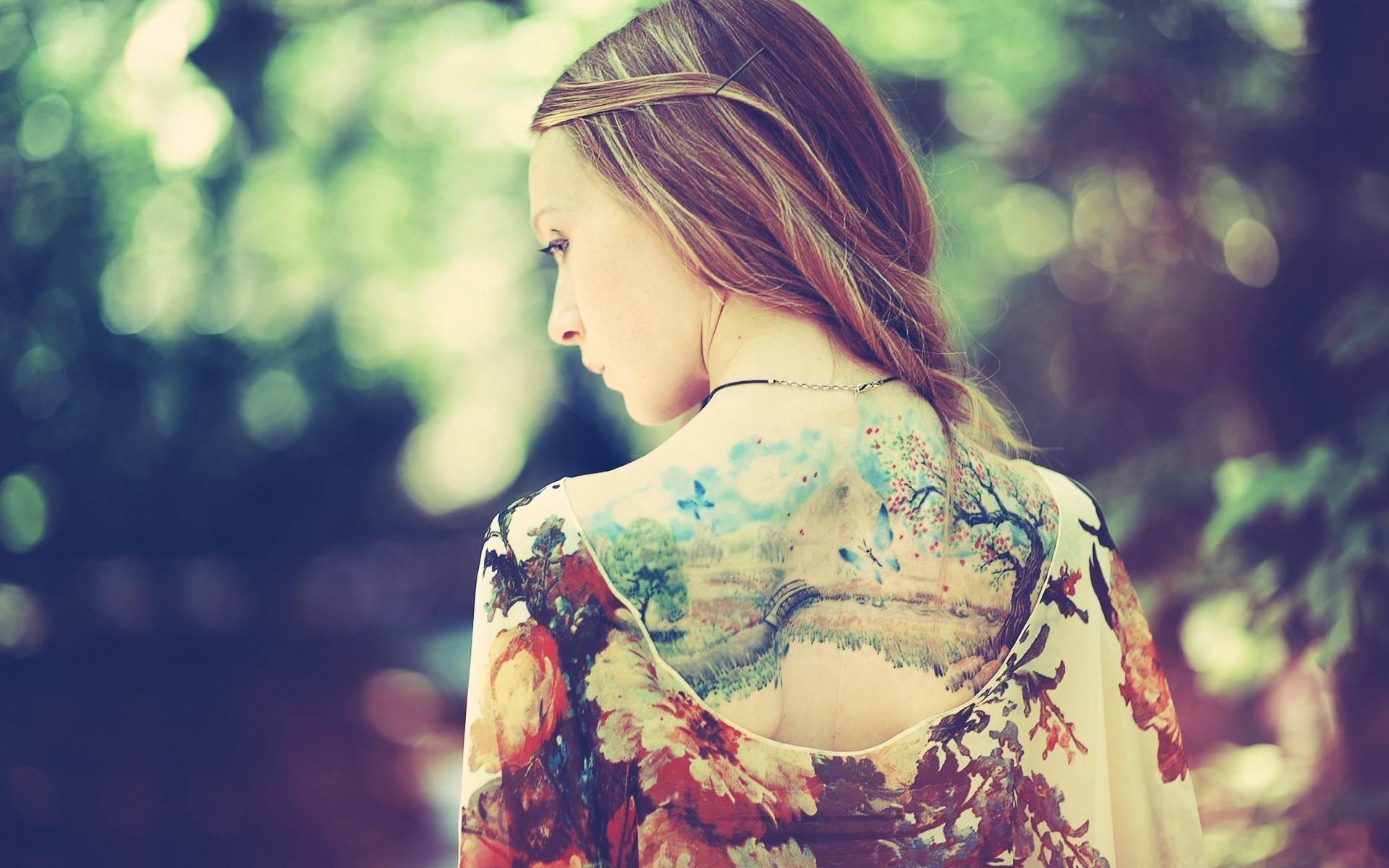 Back Dress Tattoos Nature Background Style Fashion