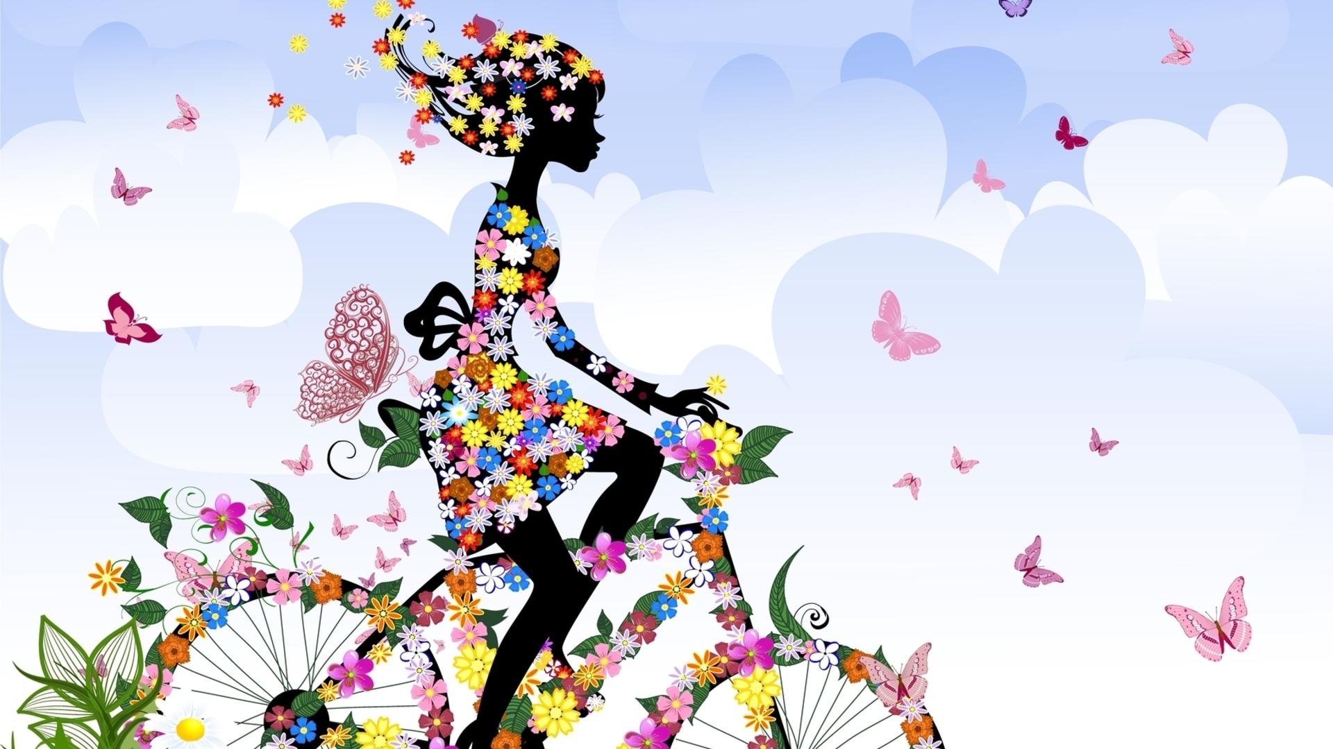 Fondos De Pantalla : Niña, Bicicleta, Flores, Mariposas