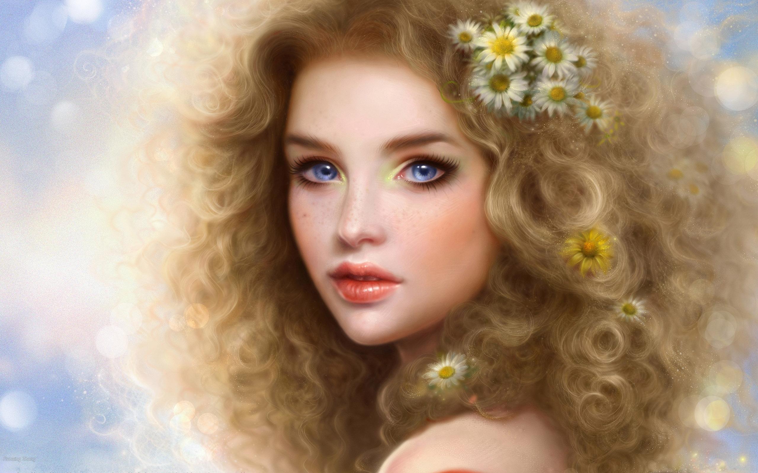 Blaue mädchen blond augen Blonde Haare