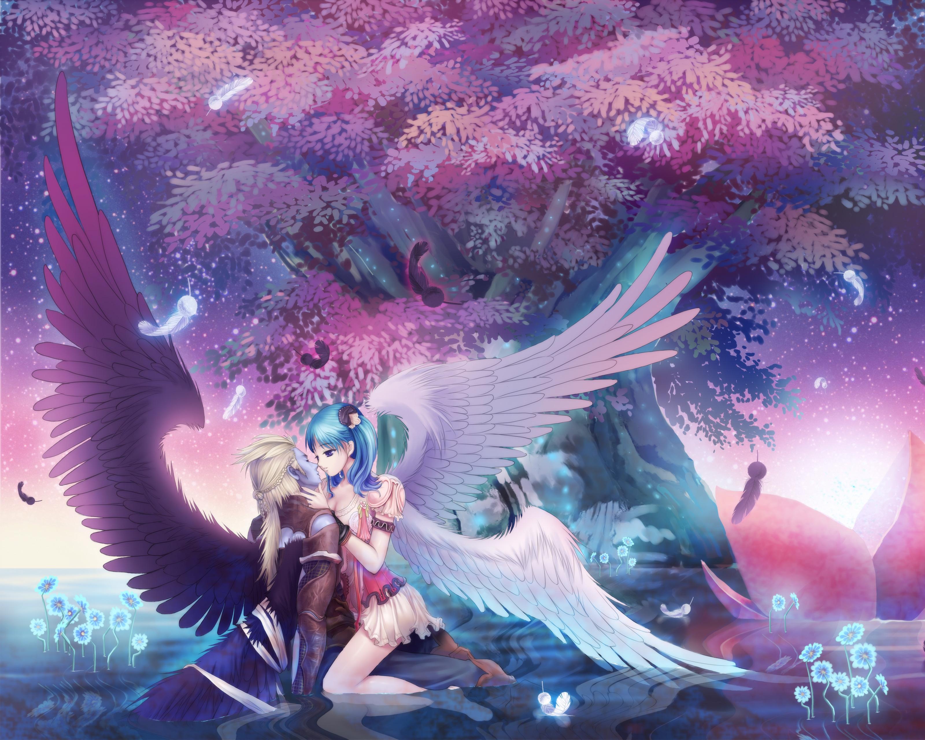 Wallpaper : girl, boy, angel, kiss, salvation, wings 10x10