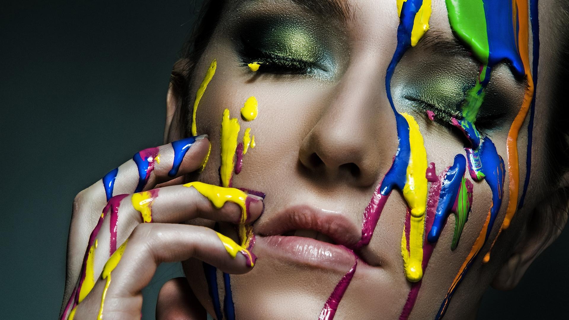 Wallpaper Girl Face Color Colorful Creative 1920x1080