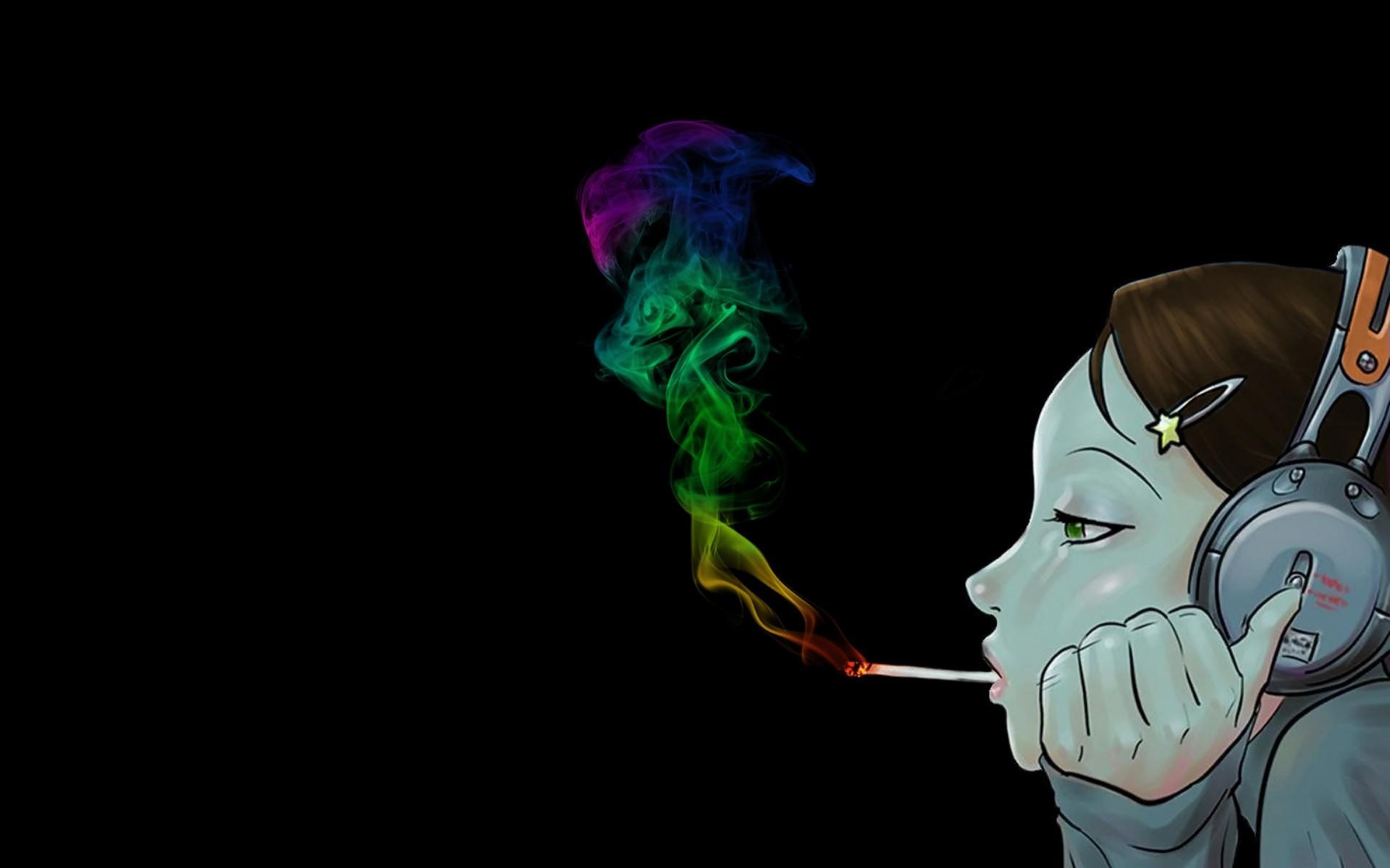Wallpaper Girl Profile Headphones Cigarette Smoke Paint Mood 1920x1200 Wallup 1098256 Hd Wallpapers Wallhere