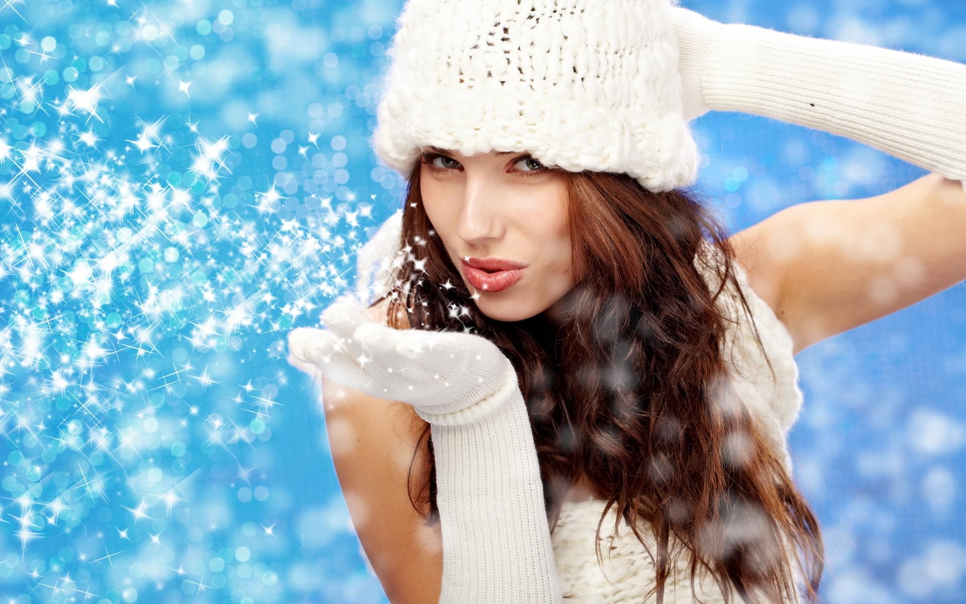 Девушка в снежинках картинки
