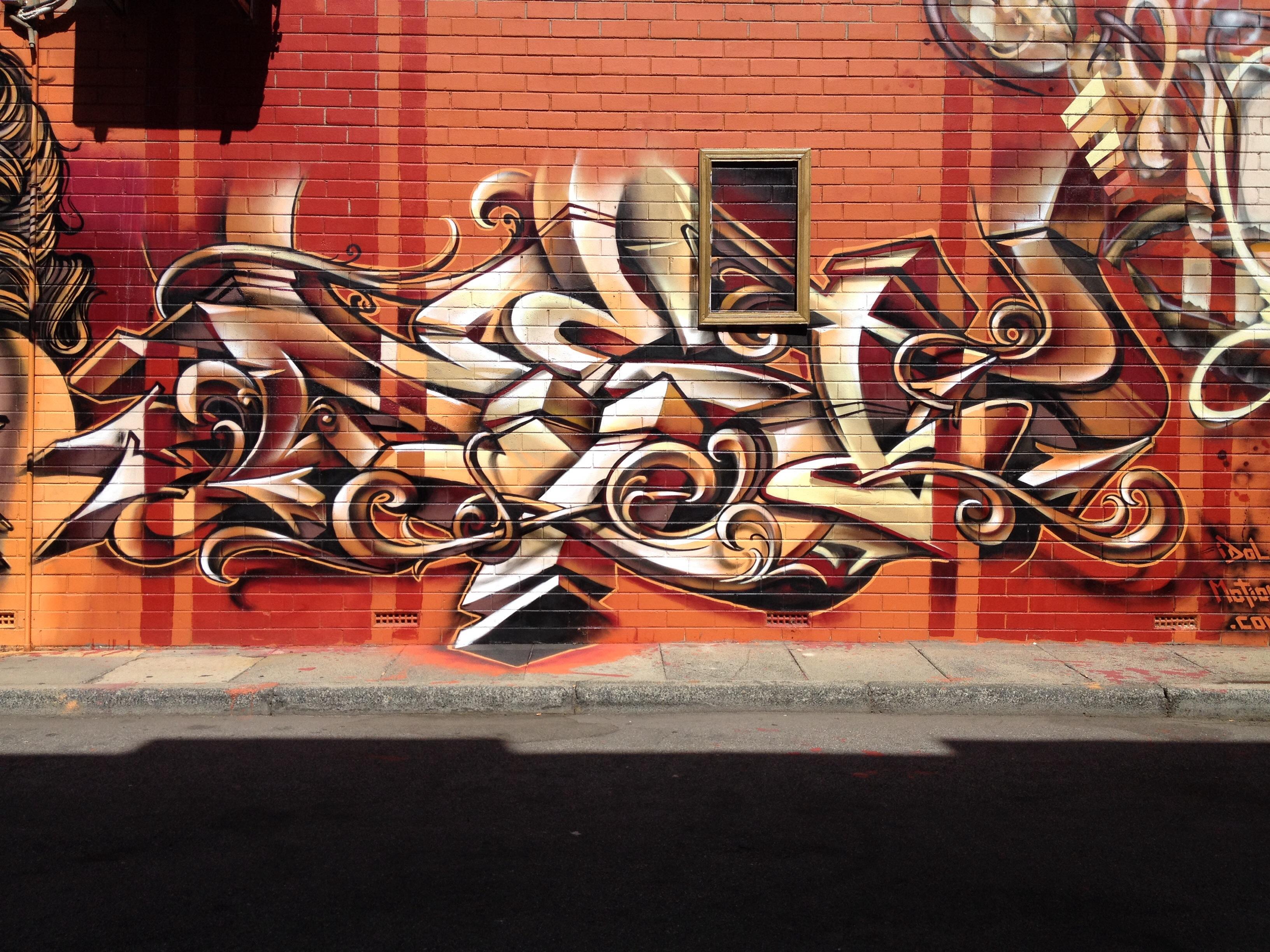 Graffiti street art australia mural perth art aerosol modern art font dest visual arts