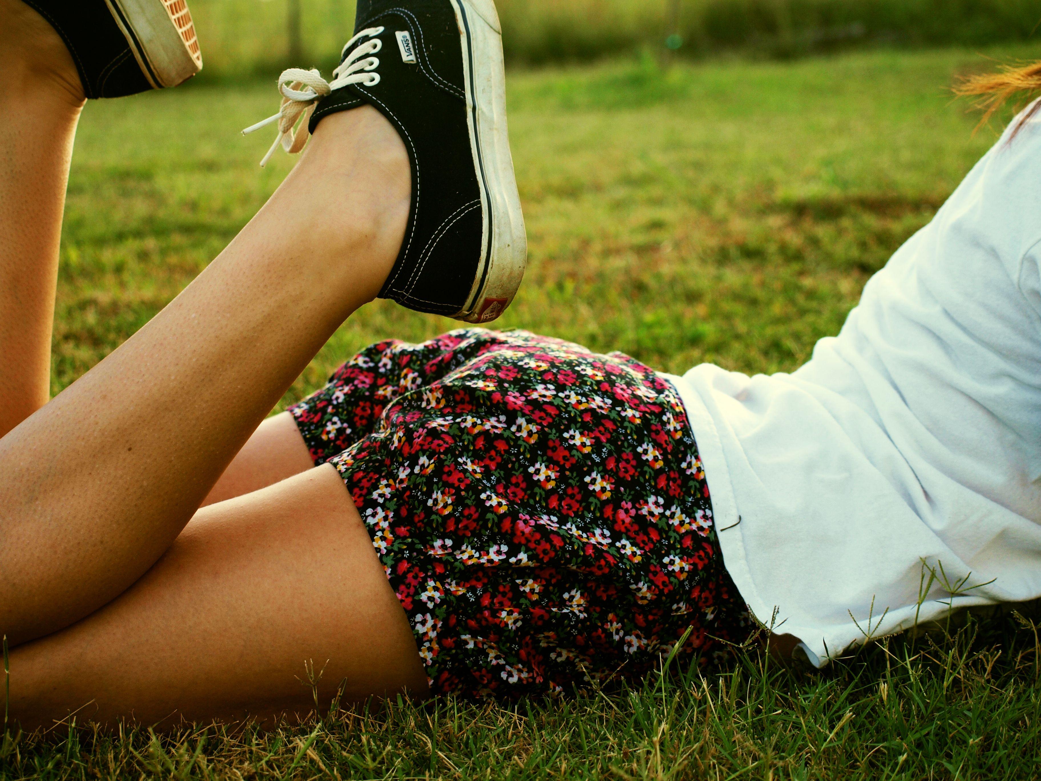 Grass Shorts Summer Vans Spring Person Floral Backyard Beauty Woman Hand Leg July Selfportrait Lawn Human