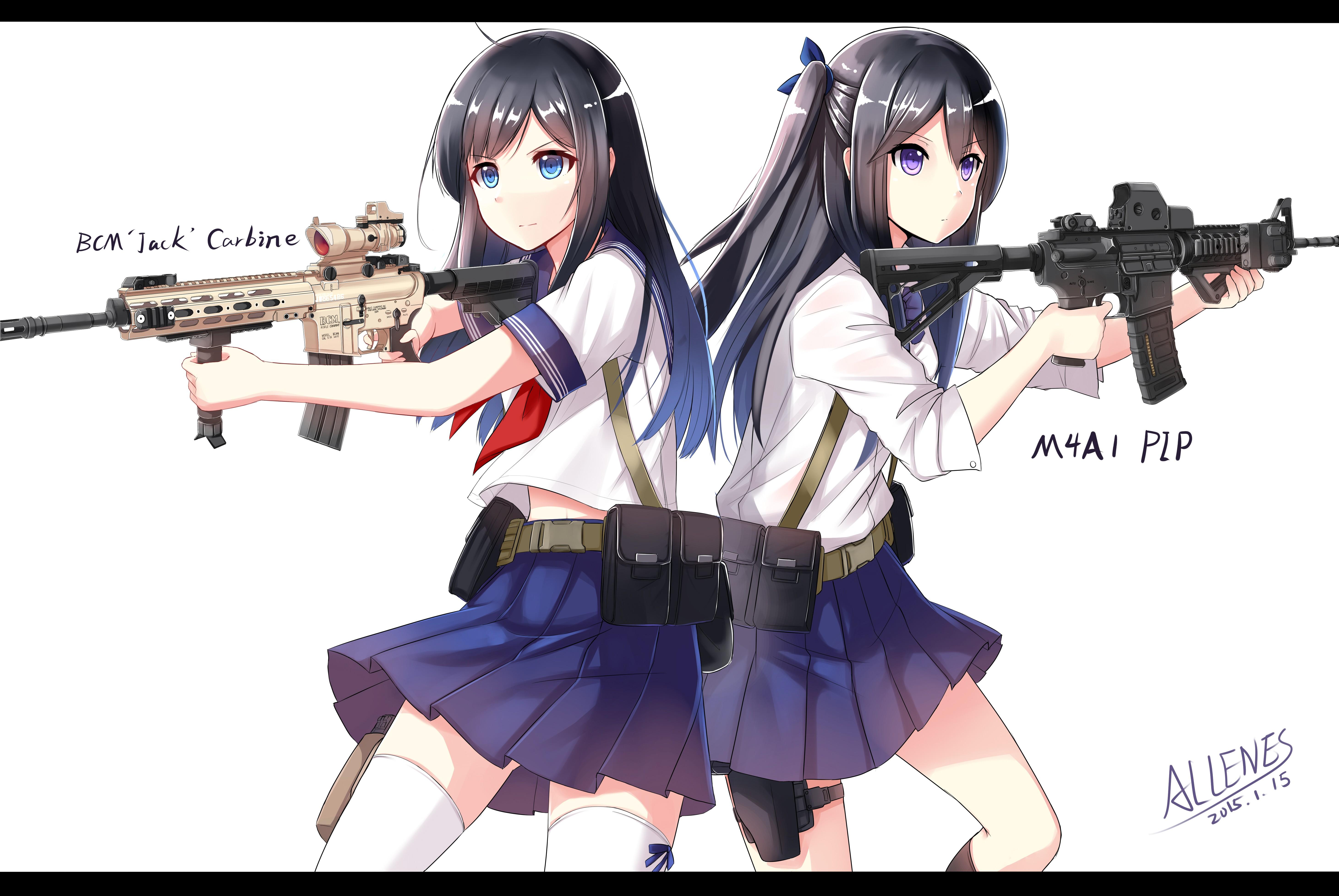 Papel De Parede Arma De Fogo Anime Meninas Anime Olhos Azuis