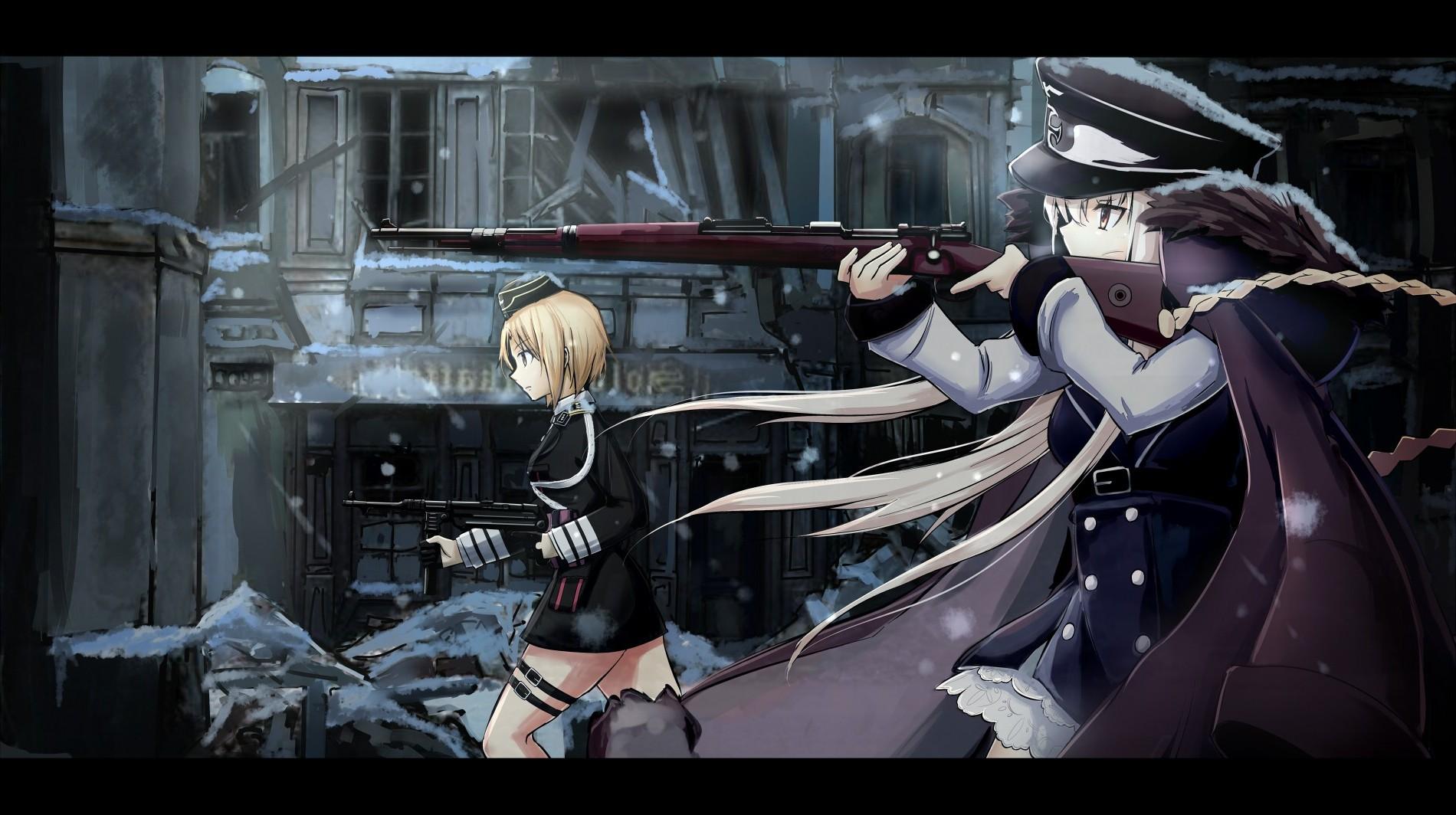 デスクトップ壁紙 銃 アニメの女の子 武器 漫画 女の子の最前線