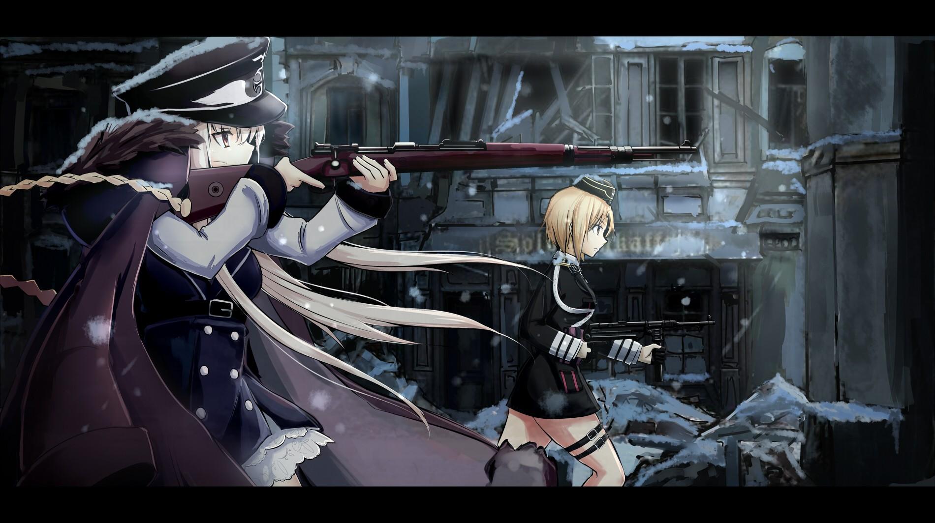 デスクトップ壁紙 銃 アニメの女の子 武器 機械 女の子の最前線