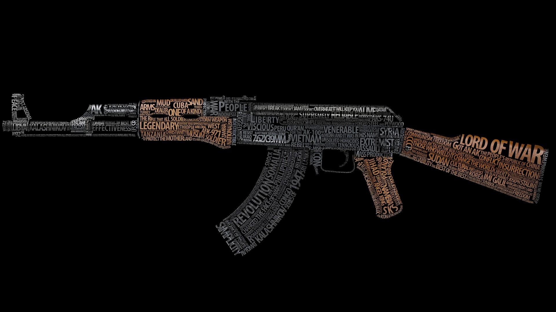 Masaüstü Silah Siyah Arka Plan Tipografi Metin Ak 47 Tabanca
