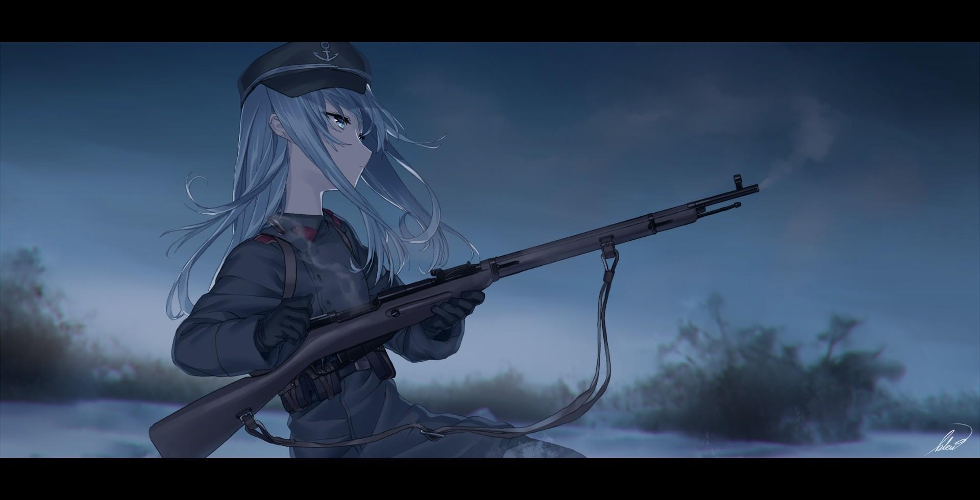 デスクトップ壁紙 銃 長い髪 アニメの女の子 武器 兵士 関タイ