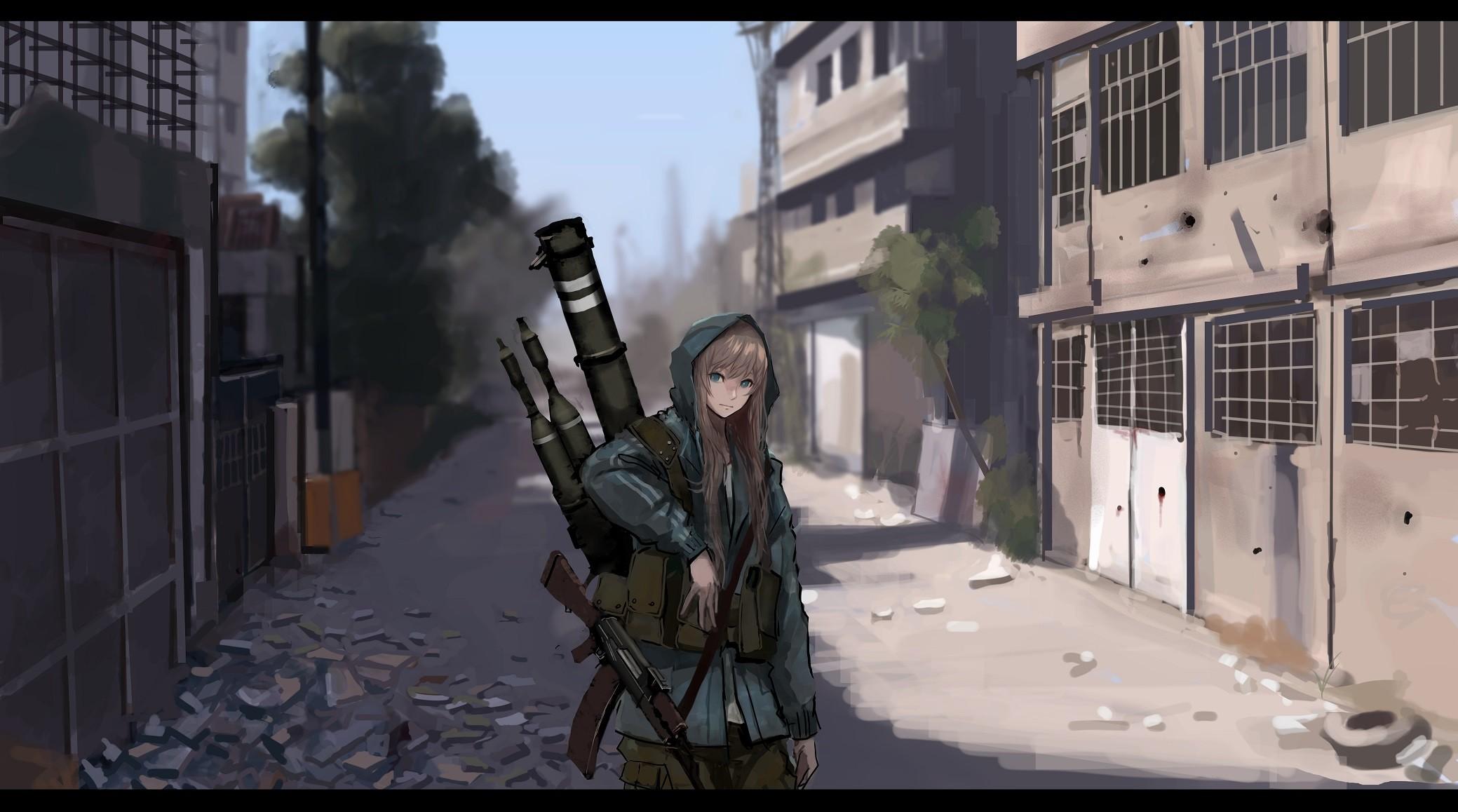 Wallpaper Gun Long Hair Anime Girls Weapon Sol R