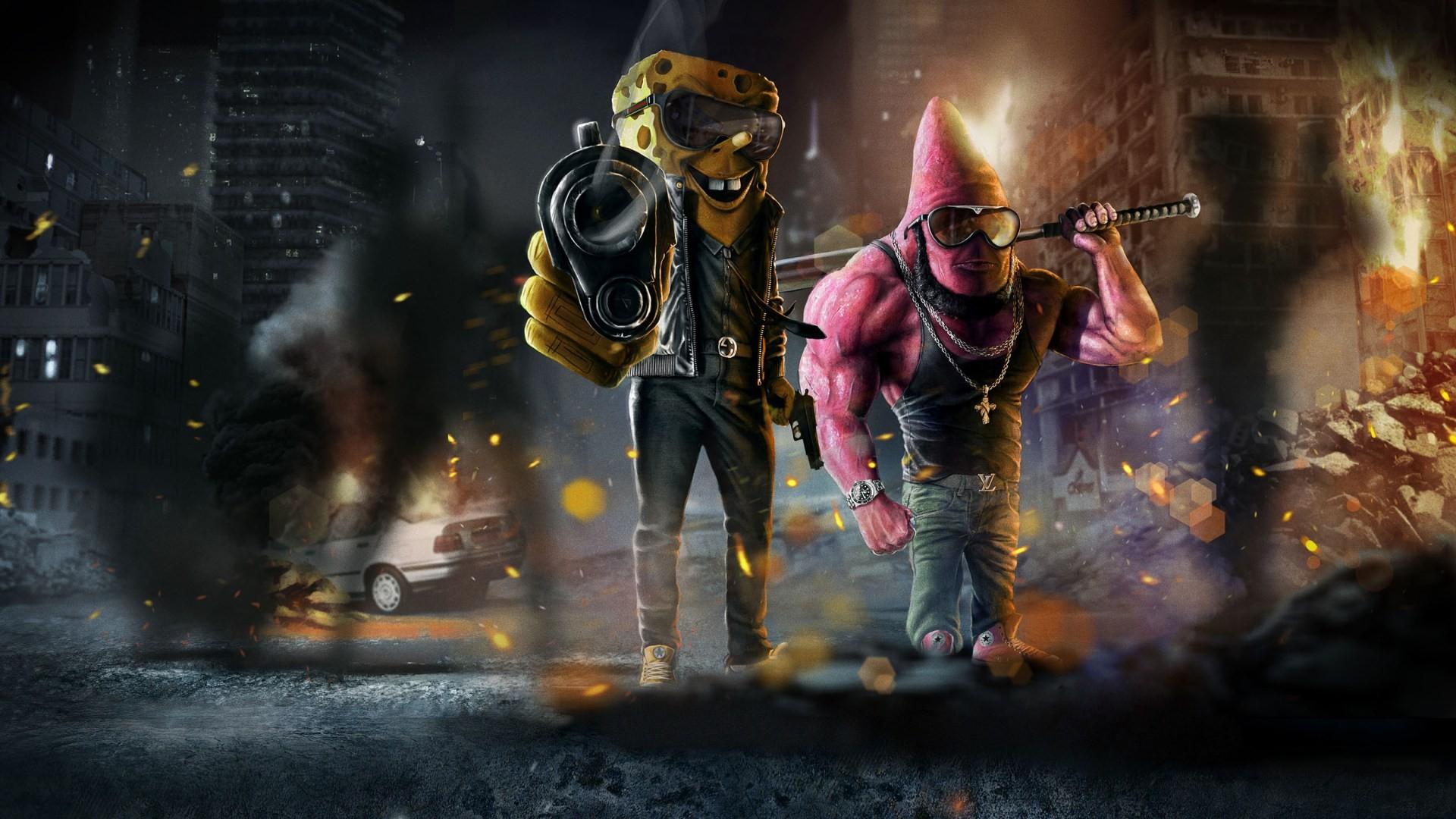Wallpaper : gun, parody, SpongeBob SquarePants, Mafia ...