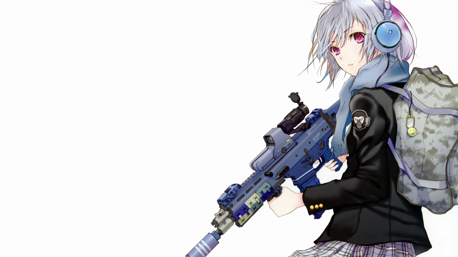 デスクトップ壁紙 銃 単純な背景 白髪 アニメの女の子 武器