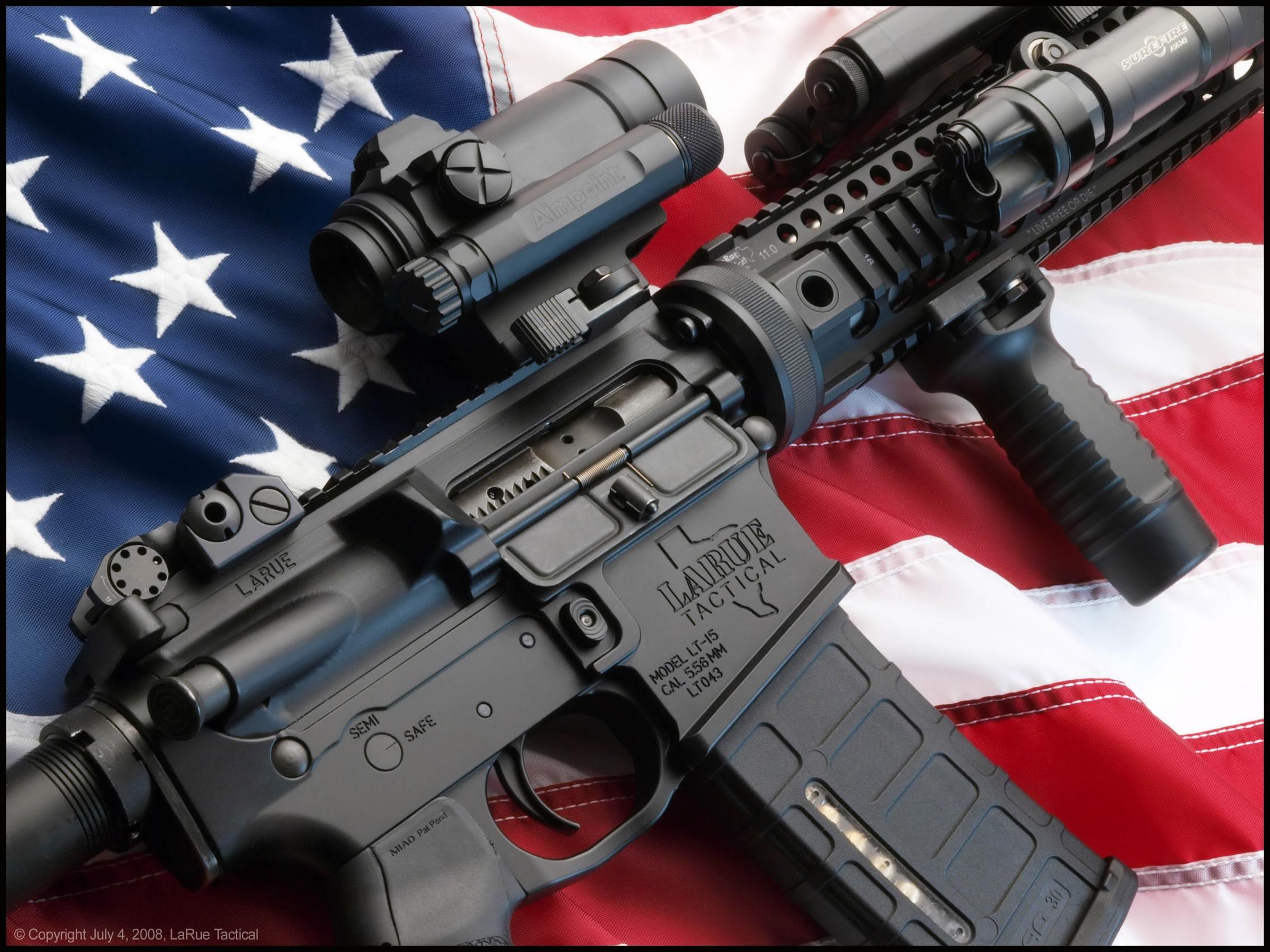 Wallpaper Weapon American Flag Usa Assault Rifle Ar 15
