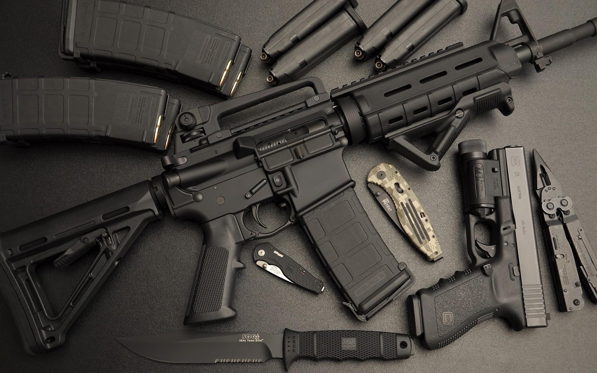 Wallpaper Weapon Pistol Ammunition Knife Assault Rifle