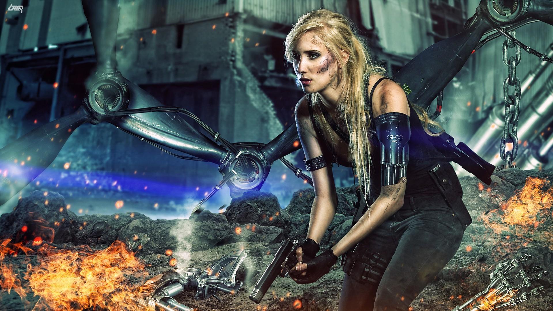 Women Warrior Artwork Sword Rain Cyberpunk Cyberpunk: Papel De Parede : Arma De Fogo, Mulheres, Loiras
