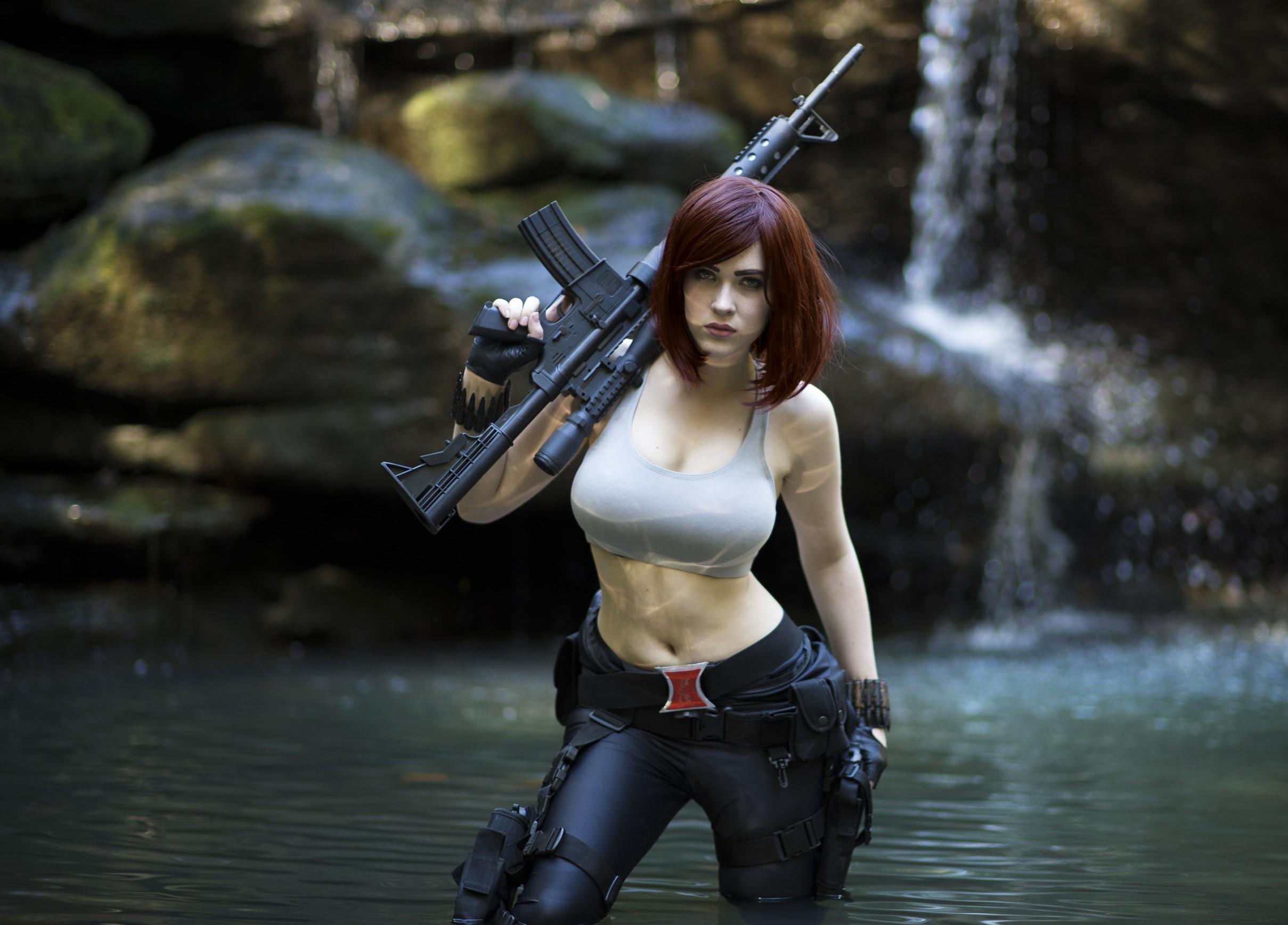 Wallpaper : gun, women, redhead, cosplay, model, water