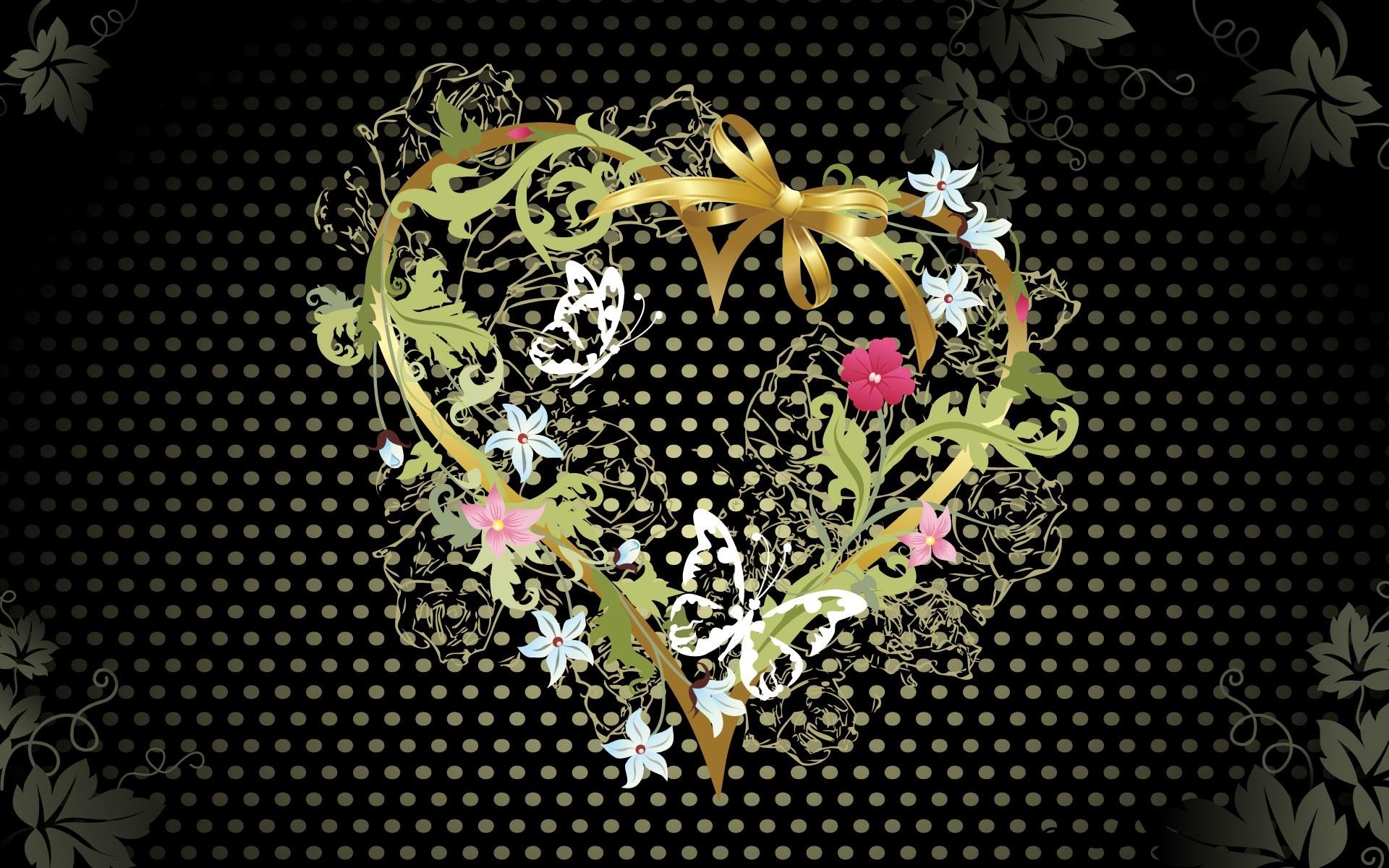 Wallpaper Jantung Bunga Bunga Pola Gelap Terang 1920x1200
