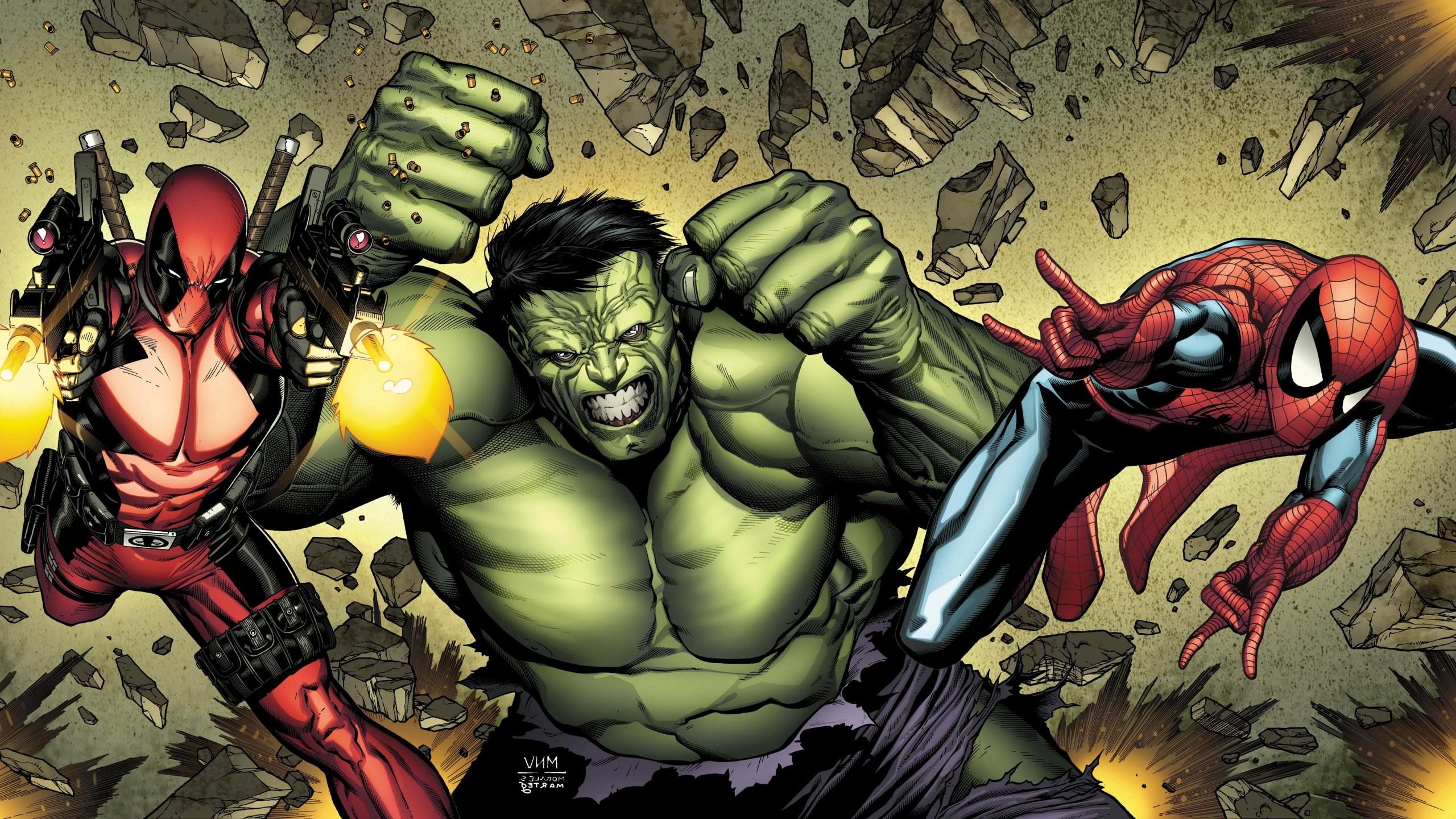 Hero Superhero Marvel Comics Hulk Captain America Spider Man Deadpool 2560x1440 Px Computer Wallpaper Fictional