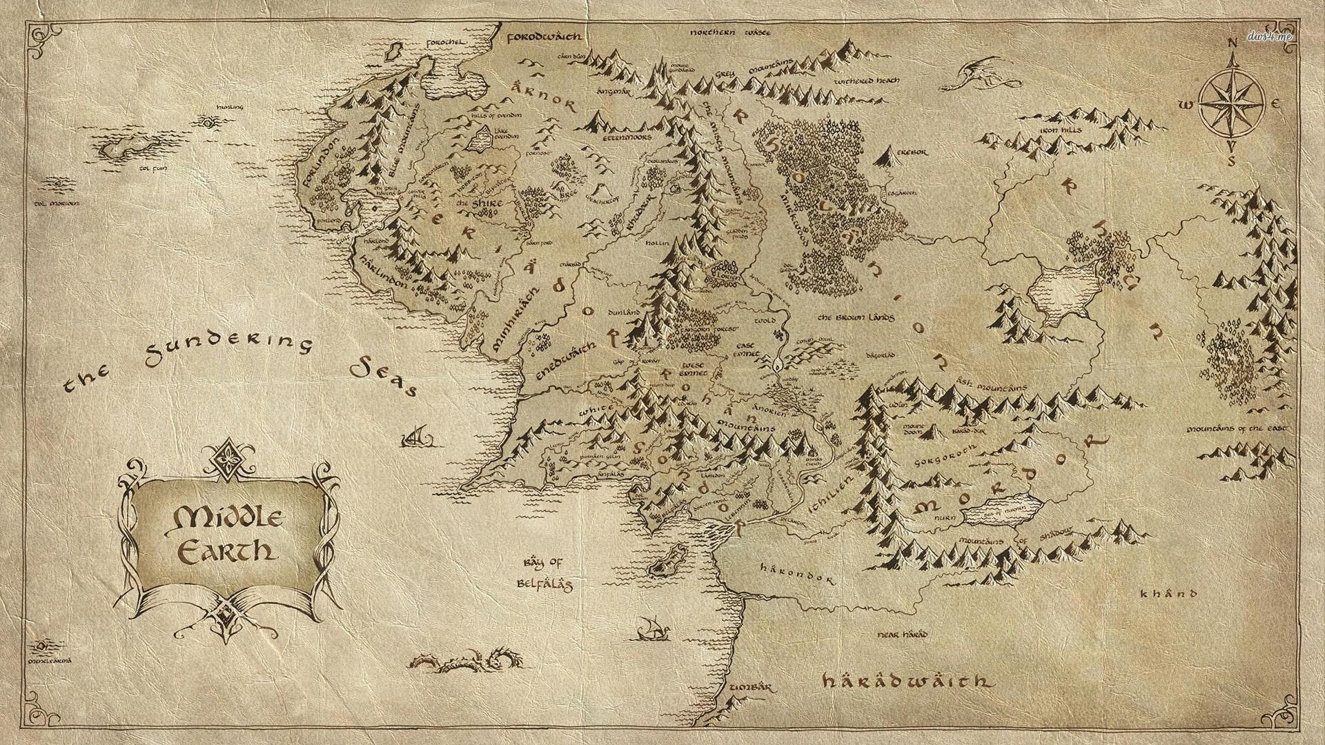 Tapety Dejiny Mapa Pan Prstenu Stredozem J R R Tolkien Font