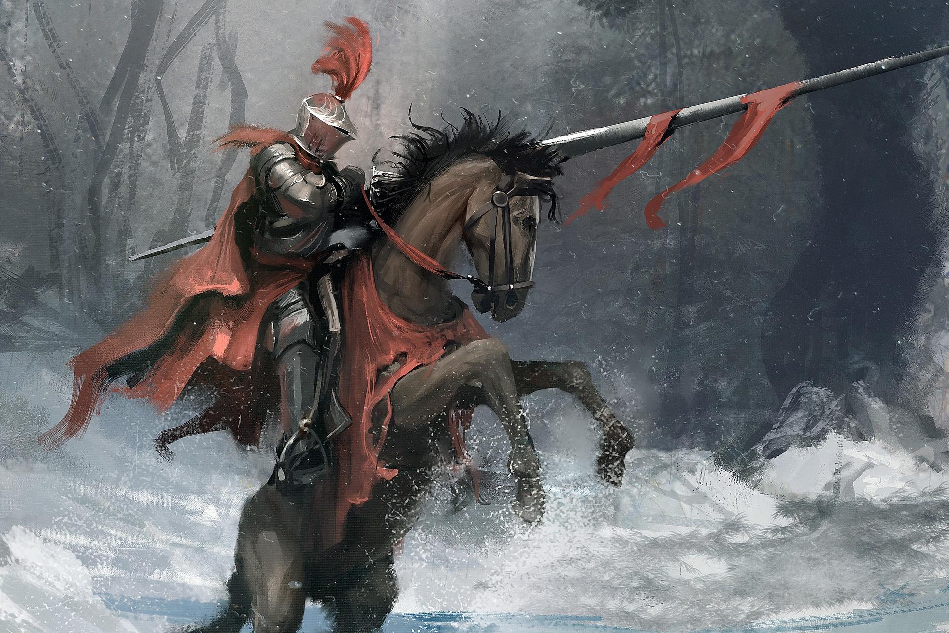 wallpaper horse knight fantasy men winter snow. Black Bedroom Furniture Sets. Home Design Ideas