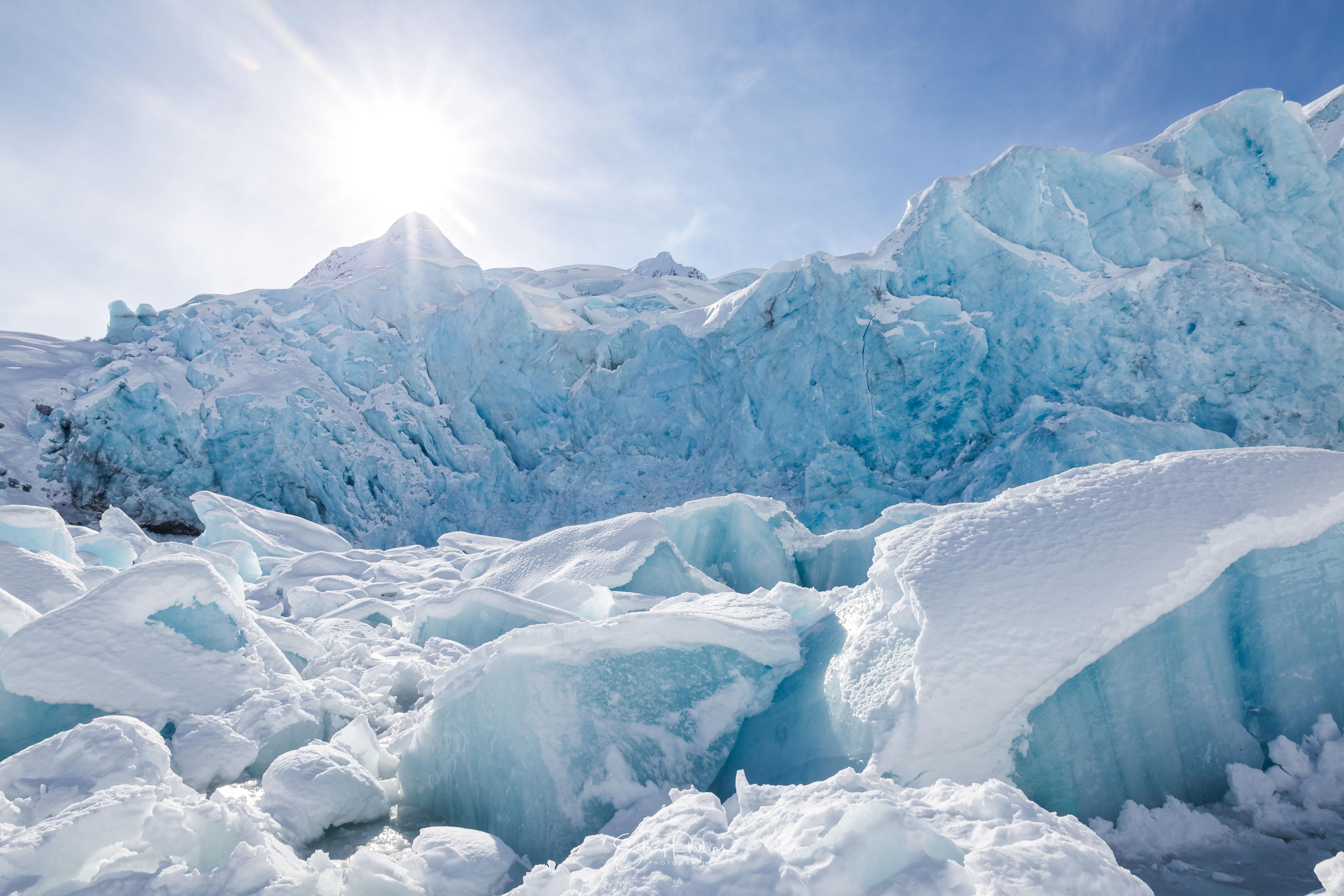 Ice Glacier Lake Sunshine Portageglacier Alaska Iceberg Blue