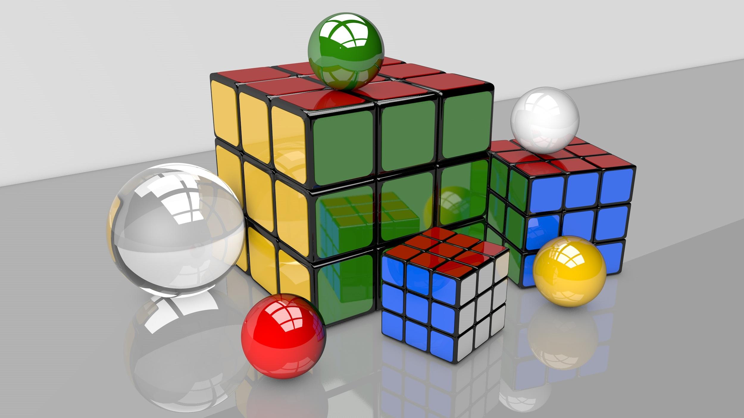 Wallpaper Illustration 3d Toy Balls Ball Rubiks Cube