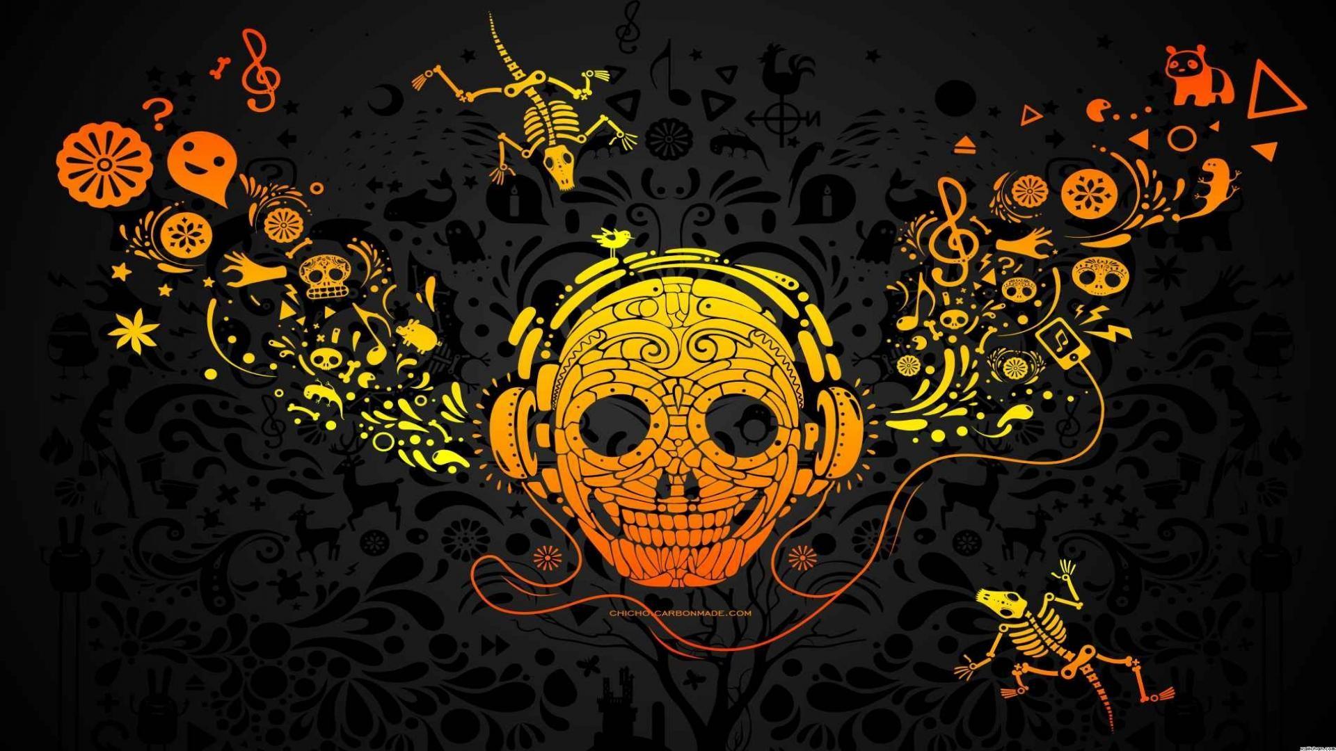 Simple Wallpaper Halloween Skull - illustration-Halloween-music-cartoon-pattern-skull-DJ-design-computer-wallpaper-font-album-cover-192109  Trends_423487.jpg