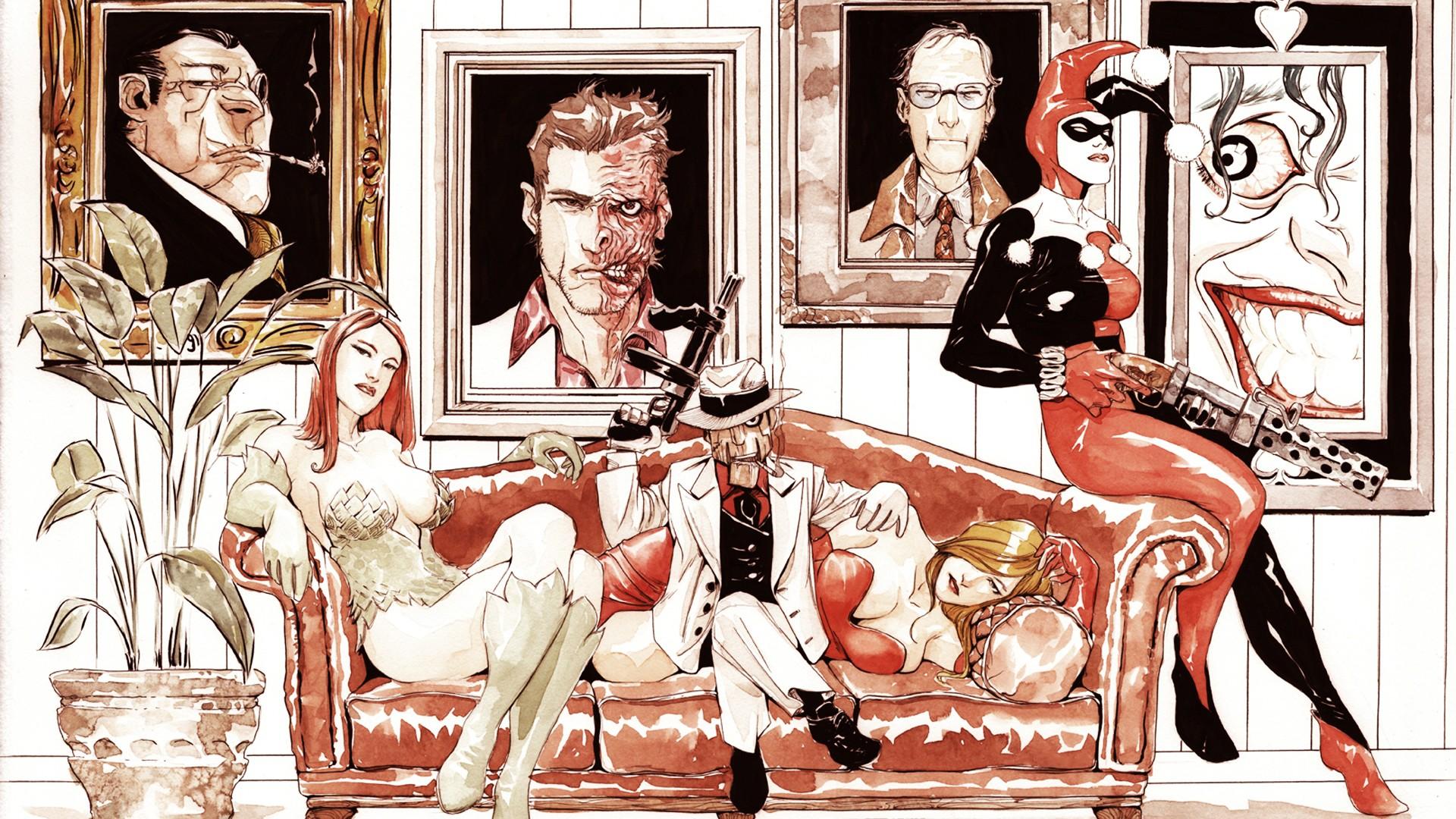 Wallpaper Illustration Joker Cartoon Dc Comics Harley Quinn