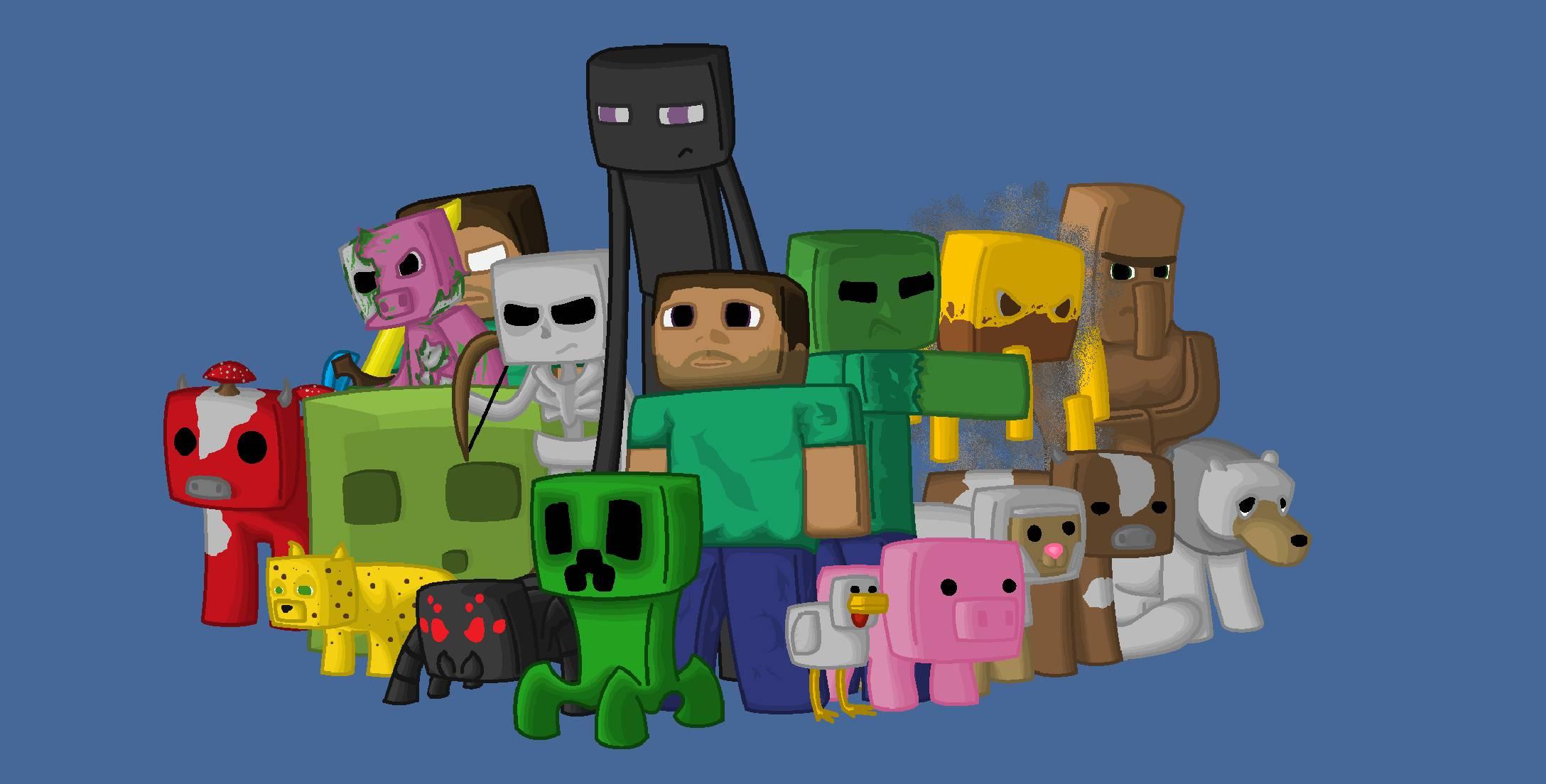 Fond Décran Illustration Minecraft Dessin Animé Pixels