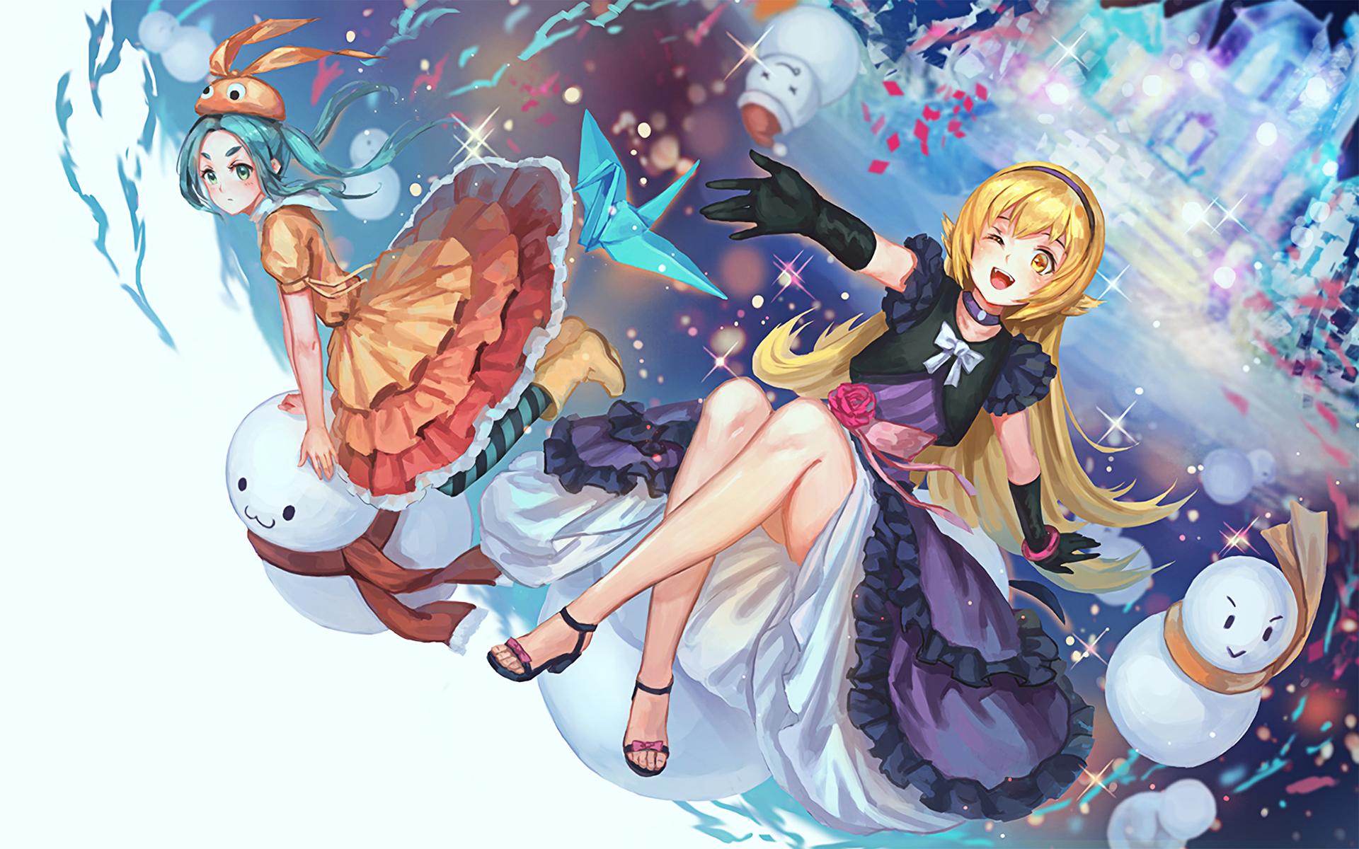 Illustration Monogatari Series Anime Girls Oshino Shinobu Ononoki Yotsugi Mangaka