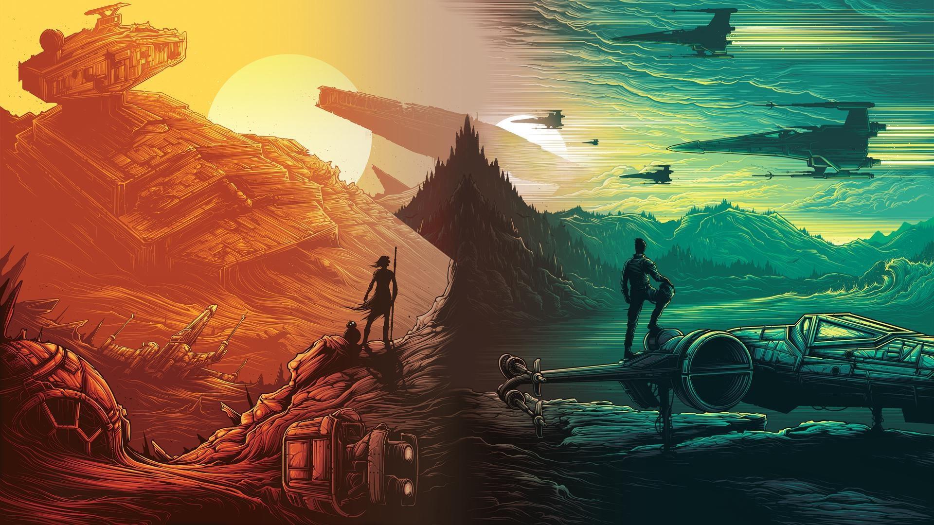 Illustration Star Wars Destroyer X Wing Daisy Ridley Rey Poe Dameron ART Screenshot 1920x1080 Px