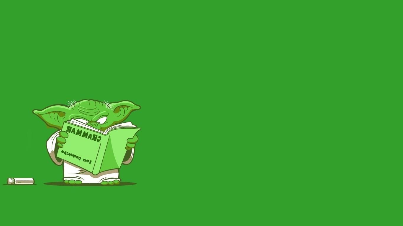 Wallpaper Illustration Star Wars Simple Background Humor Grass Text Logo Green Cartoon Graphic Design Amphibian Yoda Brand Leaf Plant Line