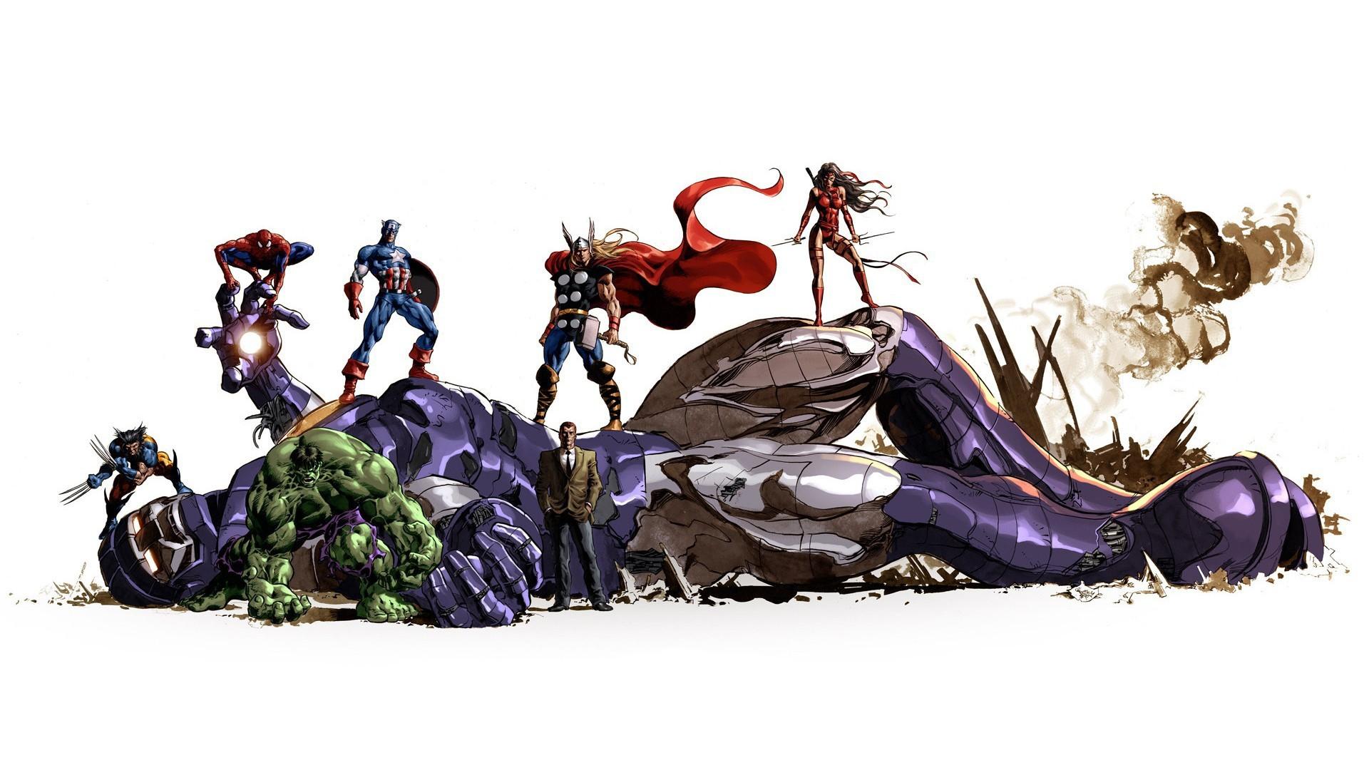 Wallpaper Illustration Thor Wolverine Cartoon Marvel Comics