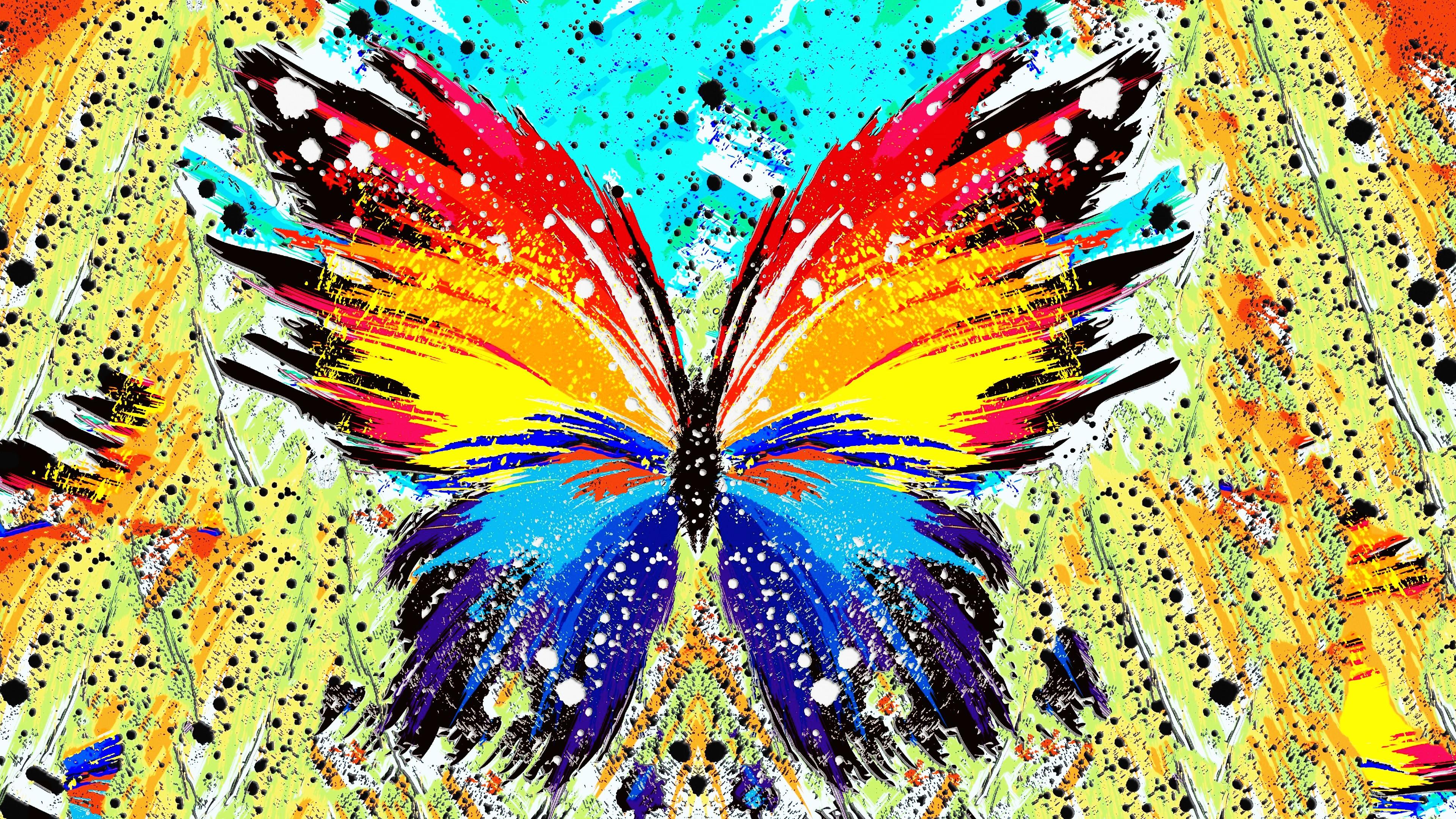 Illustration Abstract Butterfly Insect Pattern Paint Splatter ART Leaf Flower Modern Art Psychedelic Invertebrate Moths