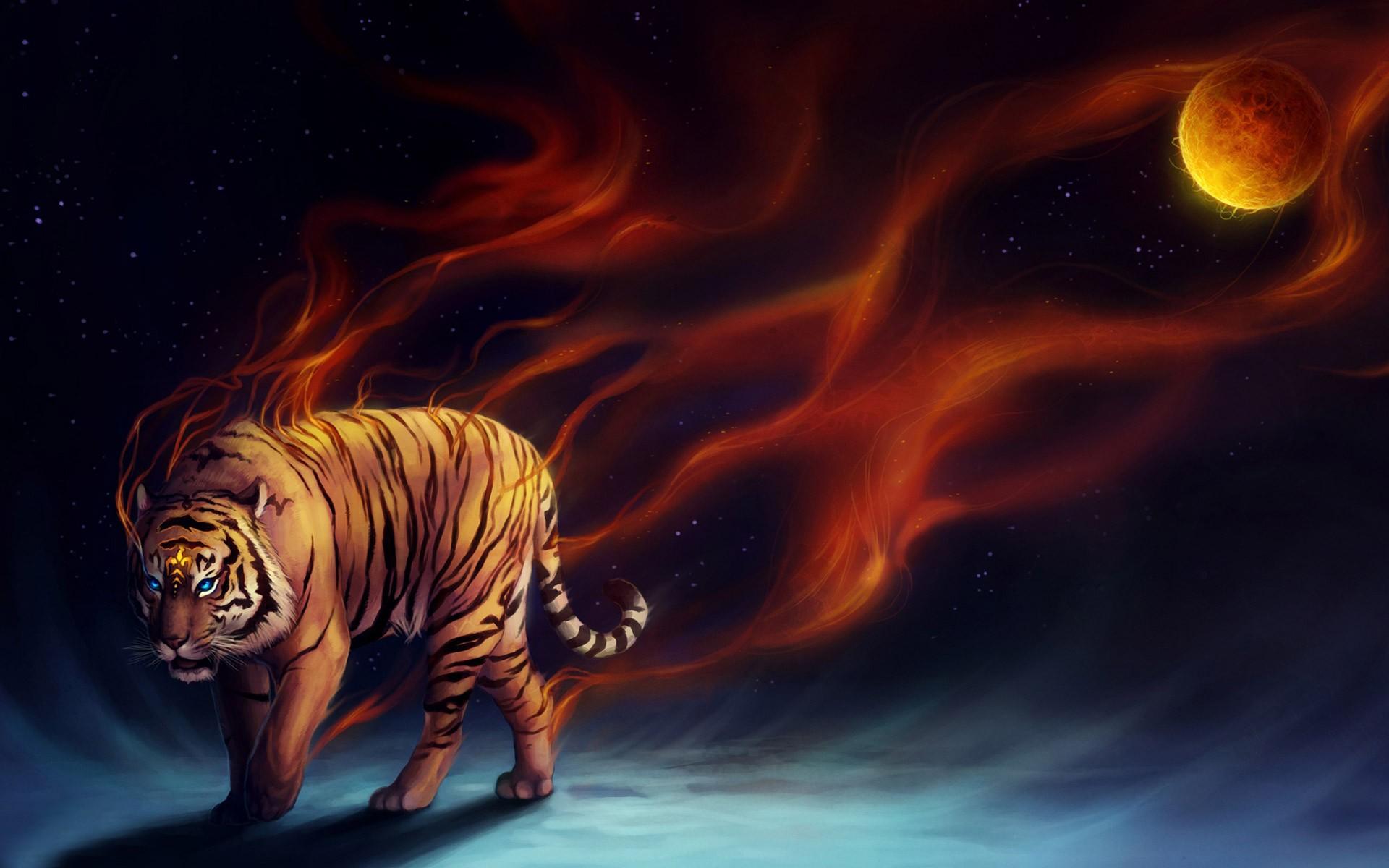 Обои на рабочий стол тигр дракон