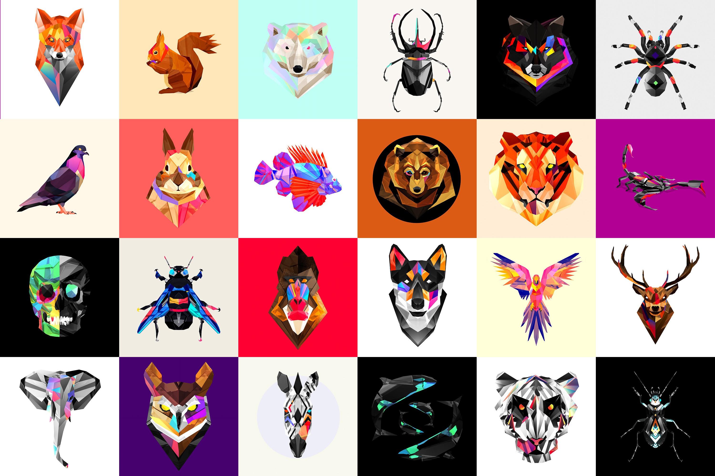 Illustration Animals Collage Artwork Low Poly Pattern Facets Justin Maller Design Font