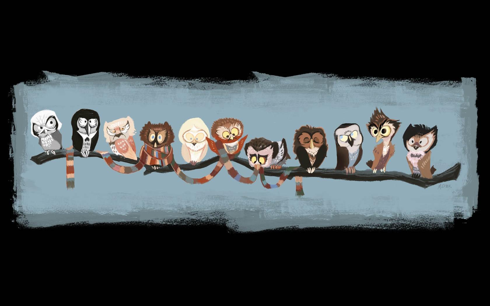 Wallpaper Ilustrasi Hewan Syal Burung Hantu Dokter Yang