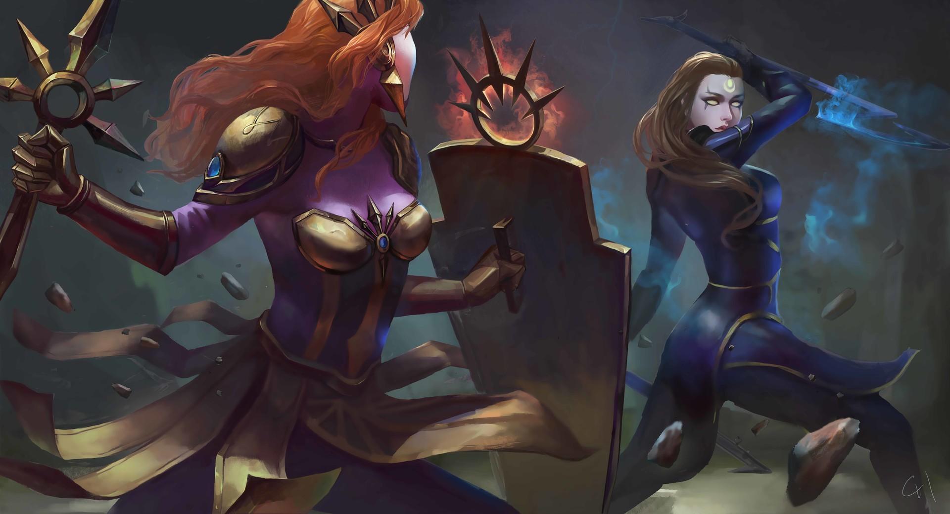 Wallpaper Illustration Anime League Of Legends Leona League
