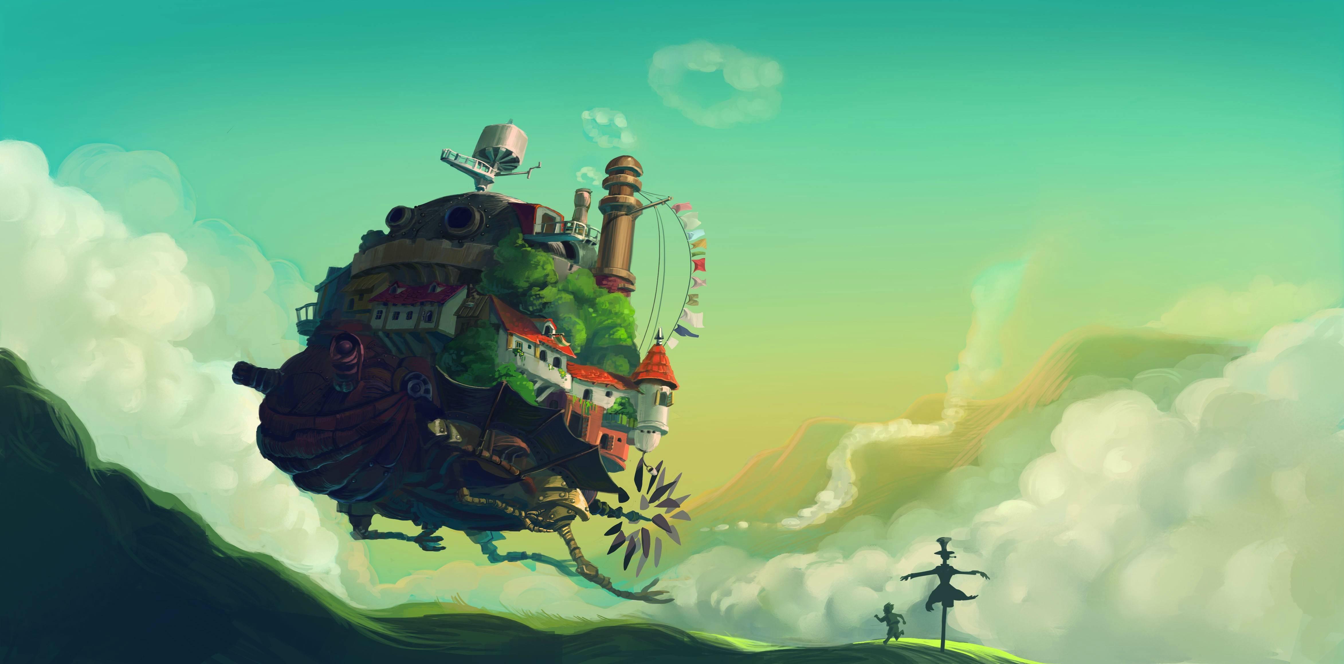 Wallpaper Ilustrasi Anime Studio Ghibli Howl Moving Castle