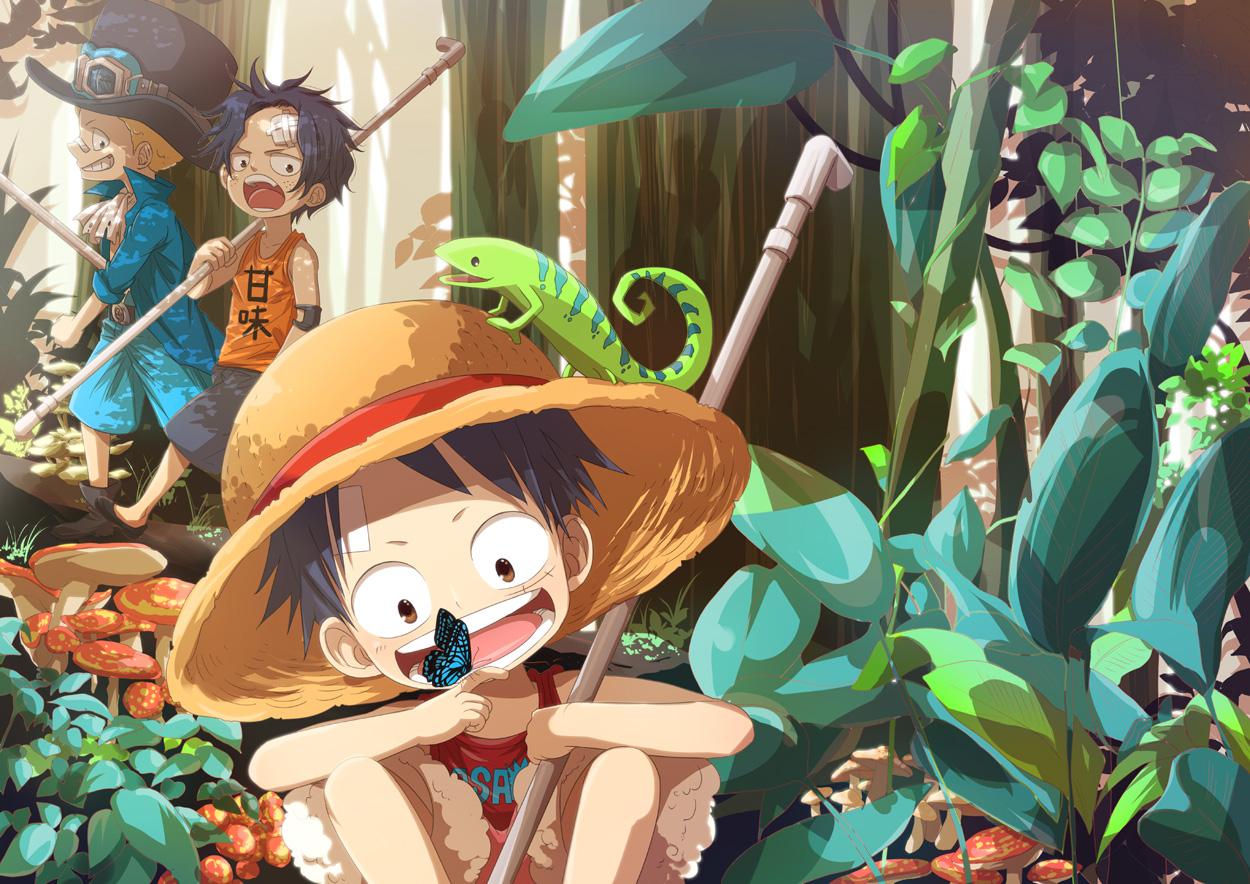 c3d81c08e8 illustration anime anime boys cartoon One Piece Monkey D Luffy jungle  Portgas D Ace comics Sabo