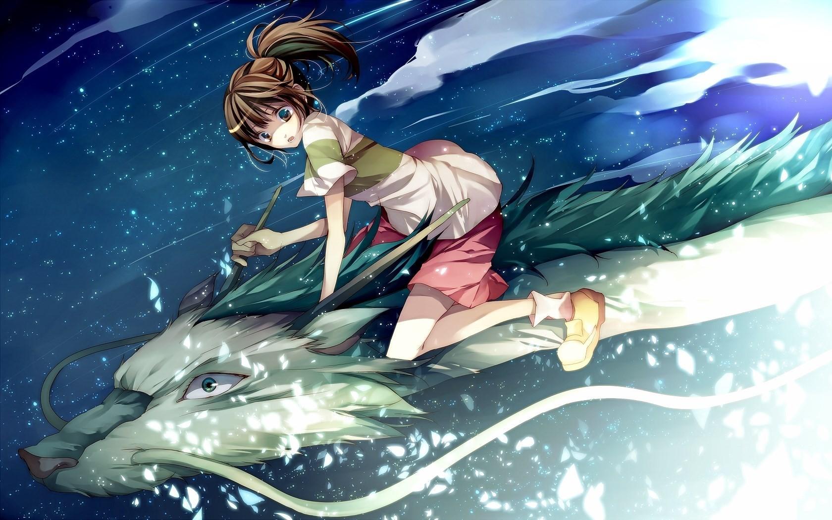 Illustration Anime Girls Spirited Away Dragon Computer Wallpaper Fictional Character