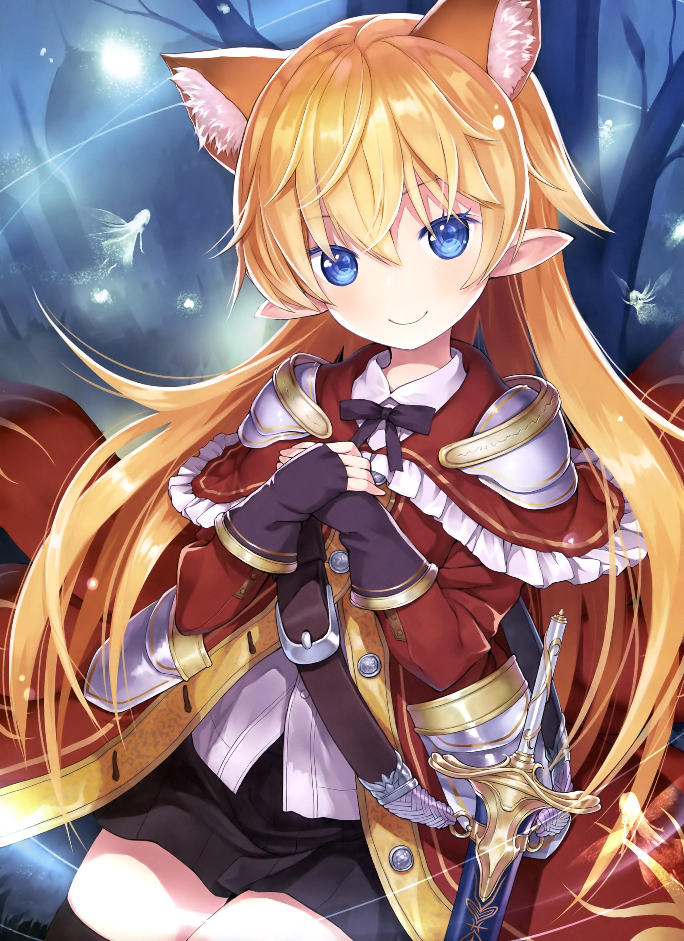Illustration anime anime girls animal ears blue eyes armor sword kitsunemimi original characters mangaka