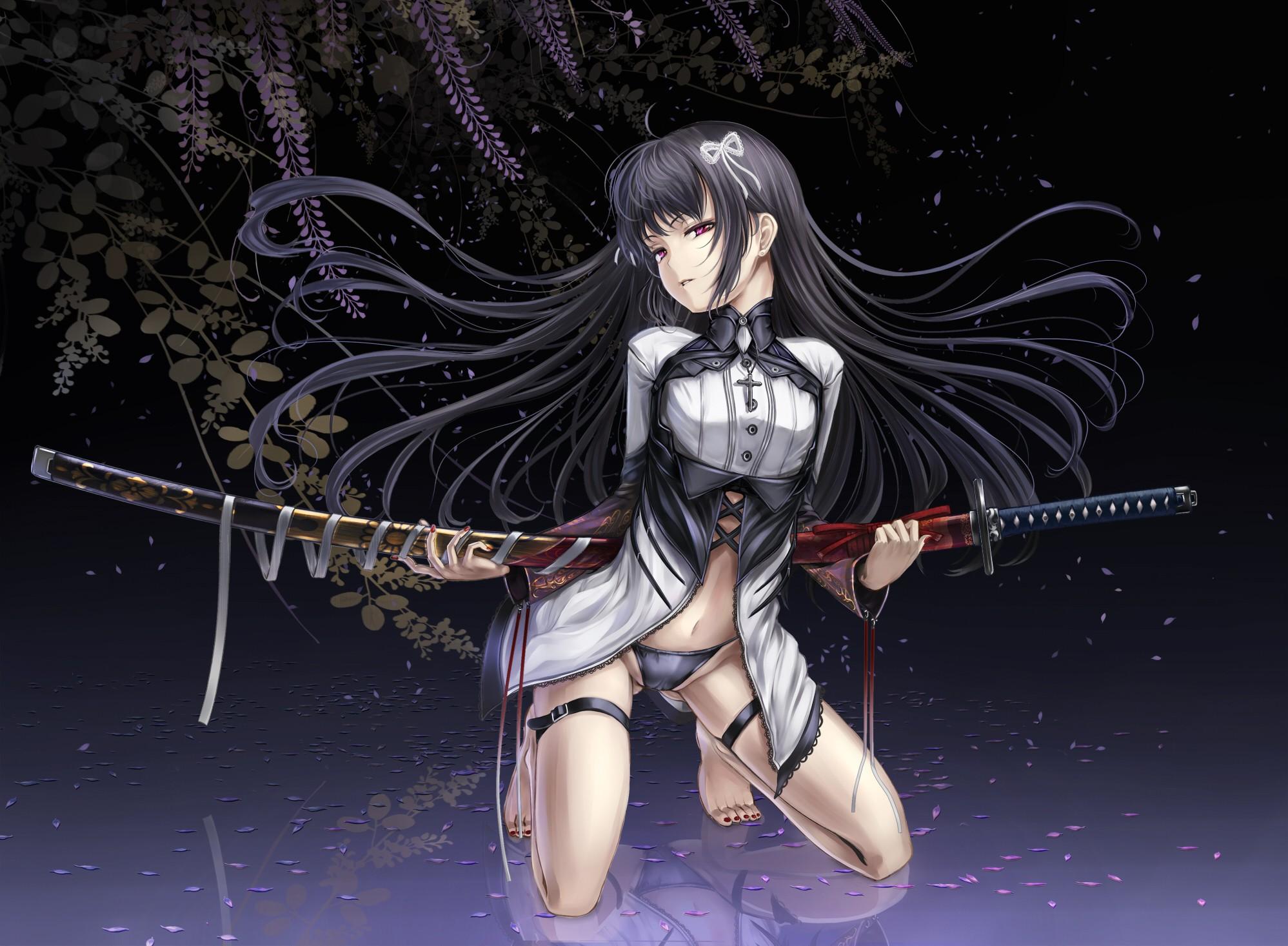 Wallpaper Illustration Anime Girls Black Hair Katana Red Eyes