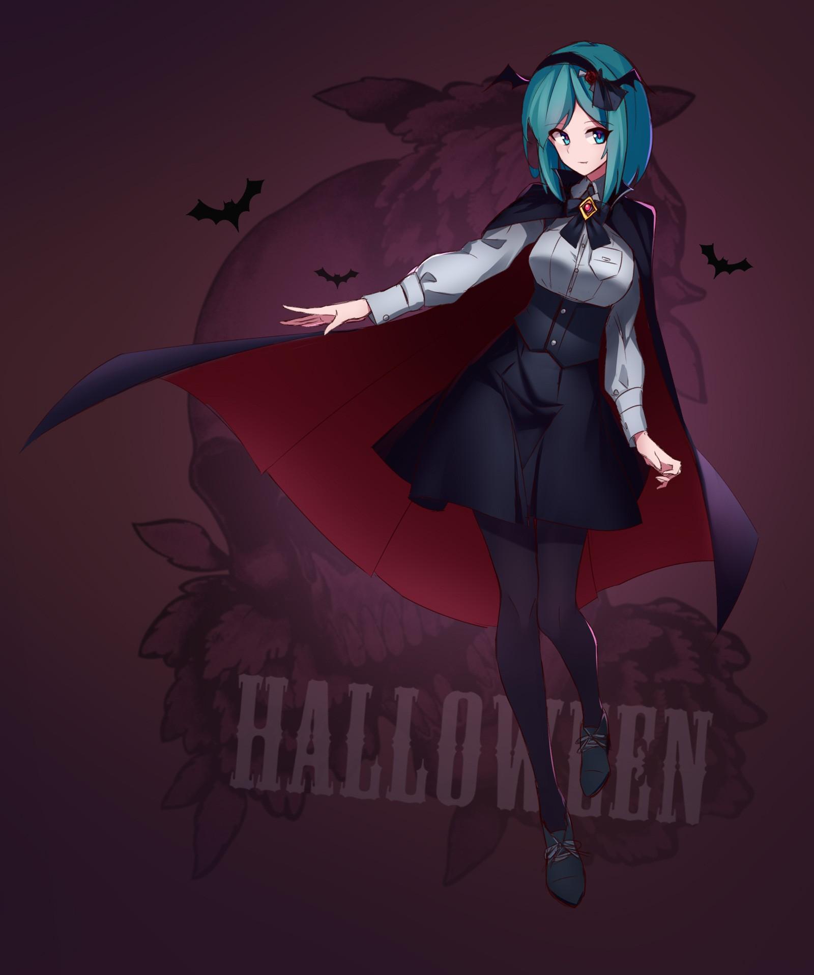 wallpaper illustration anime girls blue hair blue eyes short