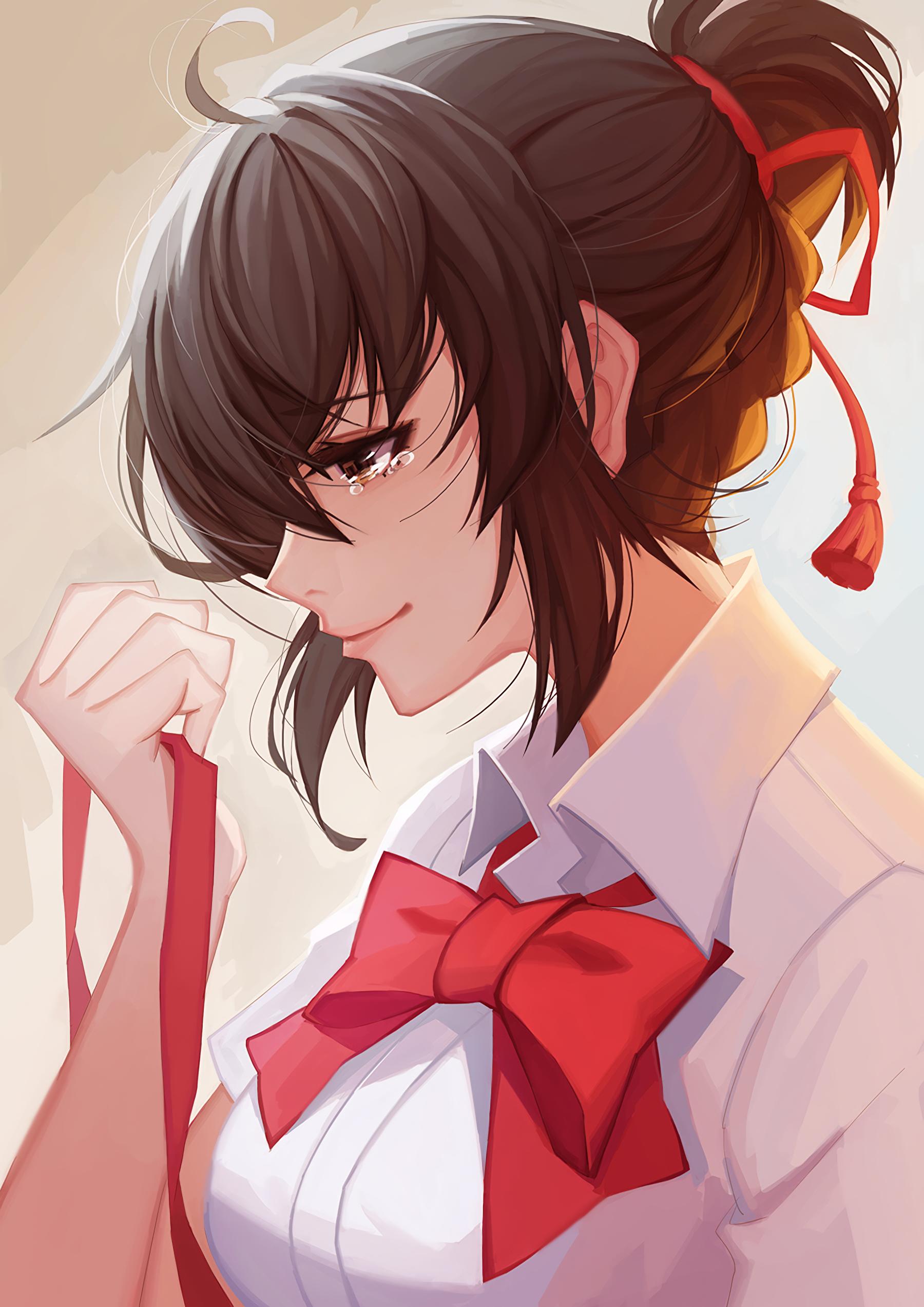 Anime mädchen braune haare braune augen