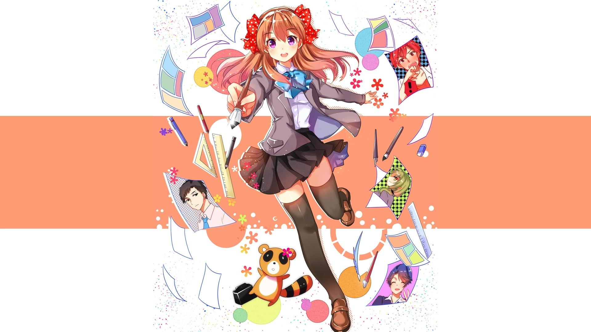 Wallpaper Illustration Anime Girls Cartoon Thigh Highs Gekkan