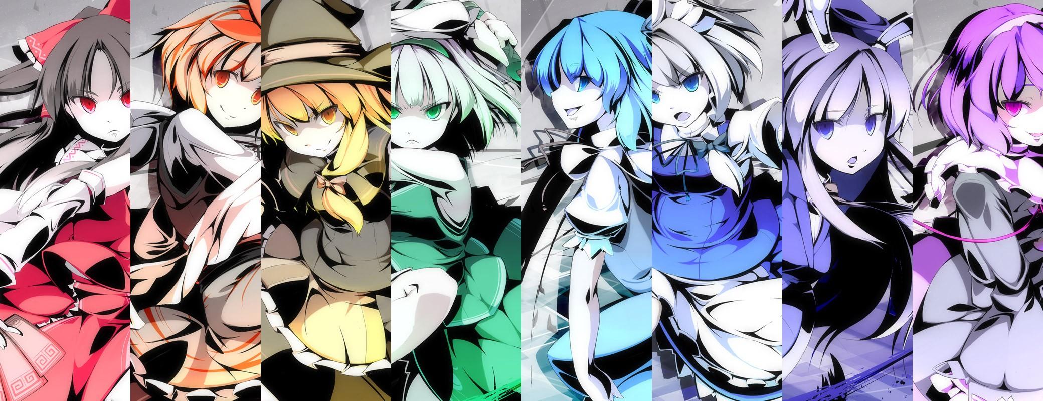 デスクトップ壁紙 図 アニメの女の子 コラージュ 東方 白百合