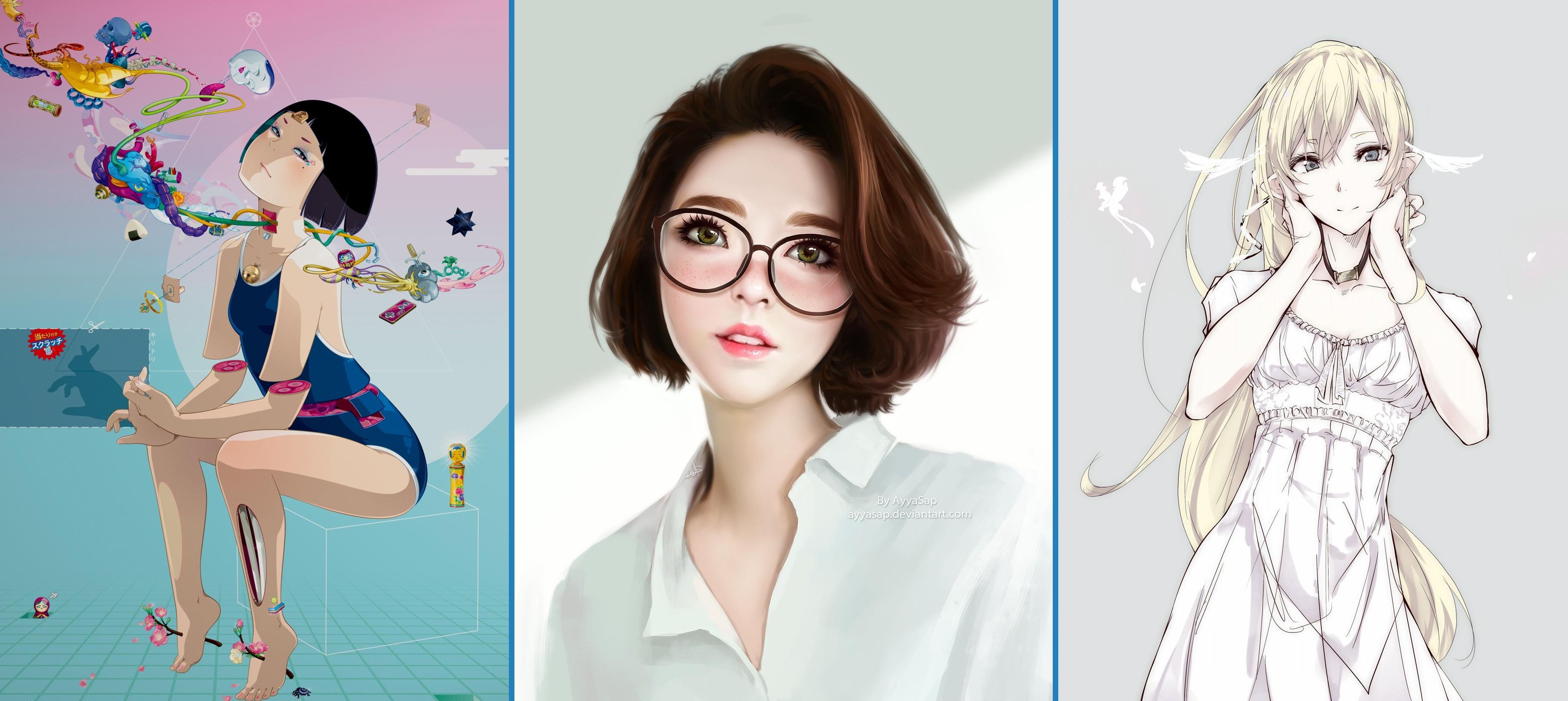 Wallpaper : Illustration, Anime Girls, Collage, Glasses
