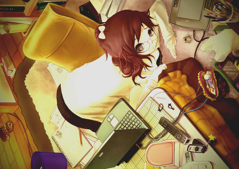 Wallpaper Ilustrasi Gadis Anime Kacamata Gambar Kartun
